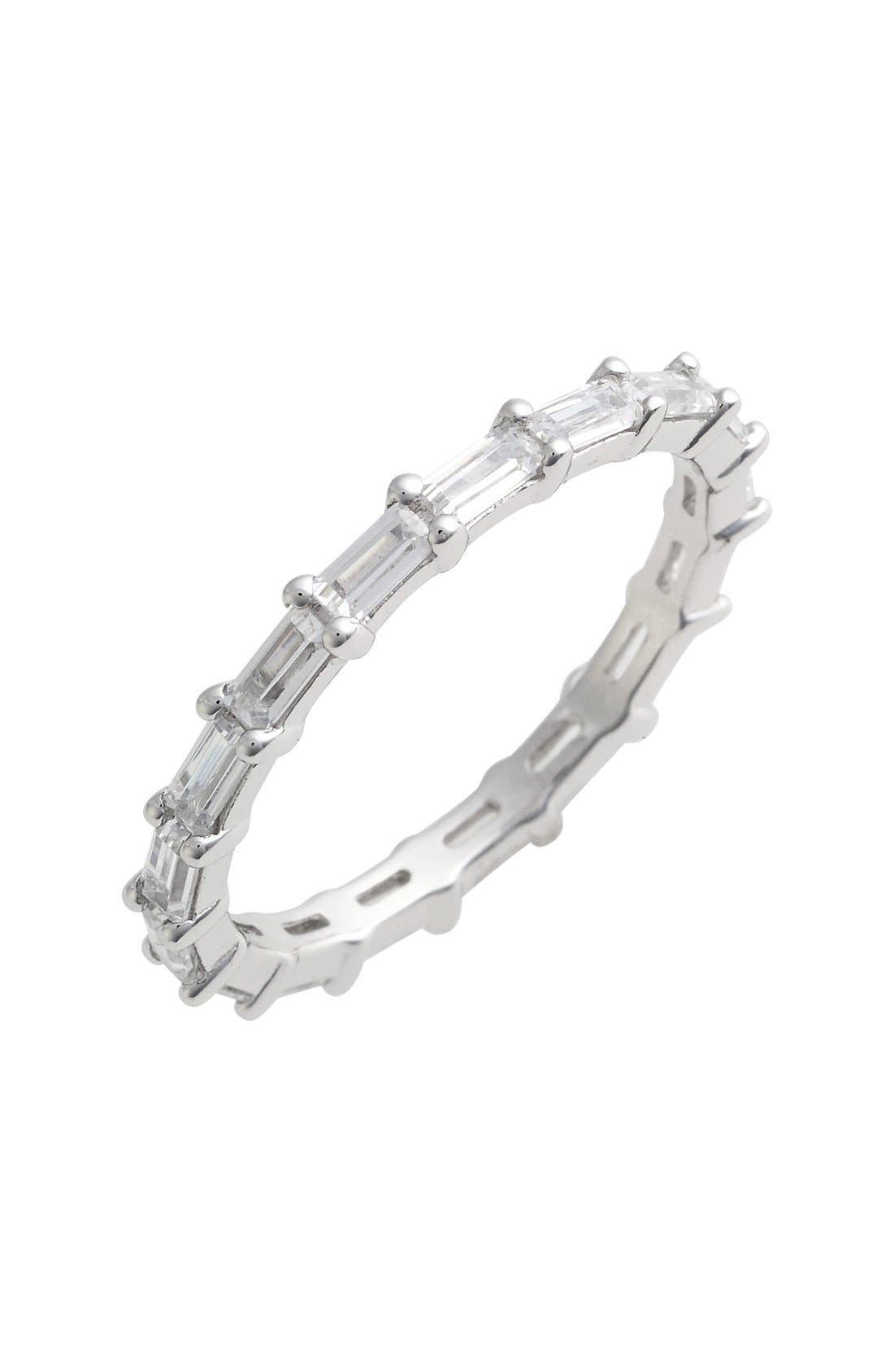 Stackable Baguette Band Ring,                             Main thumbnail 1, color,                             SILVER