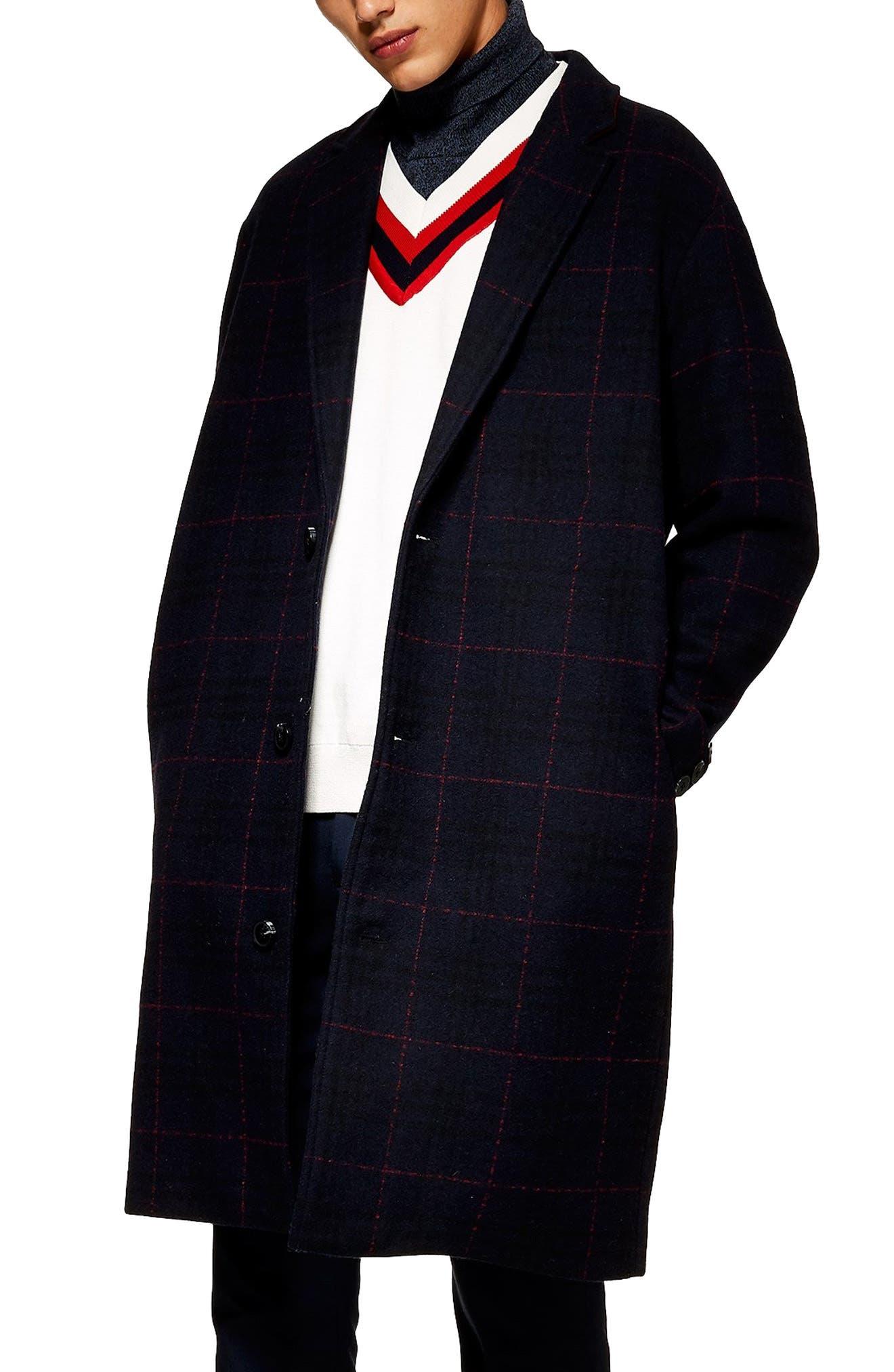 TOPMAN Hadyn Oversize Check Print Overcoat, Main, color, 401