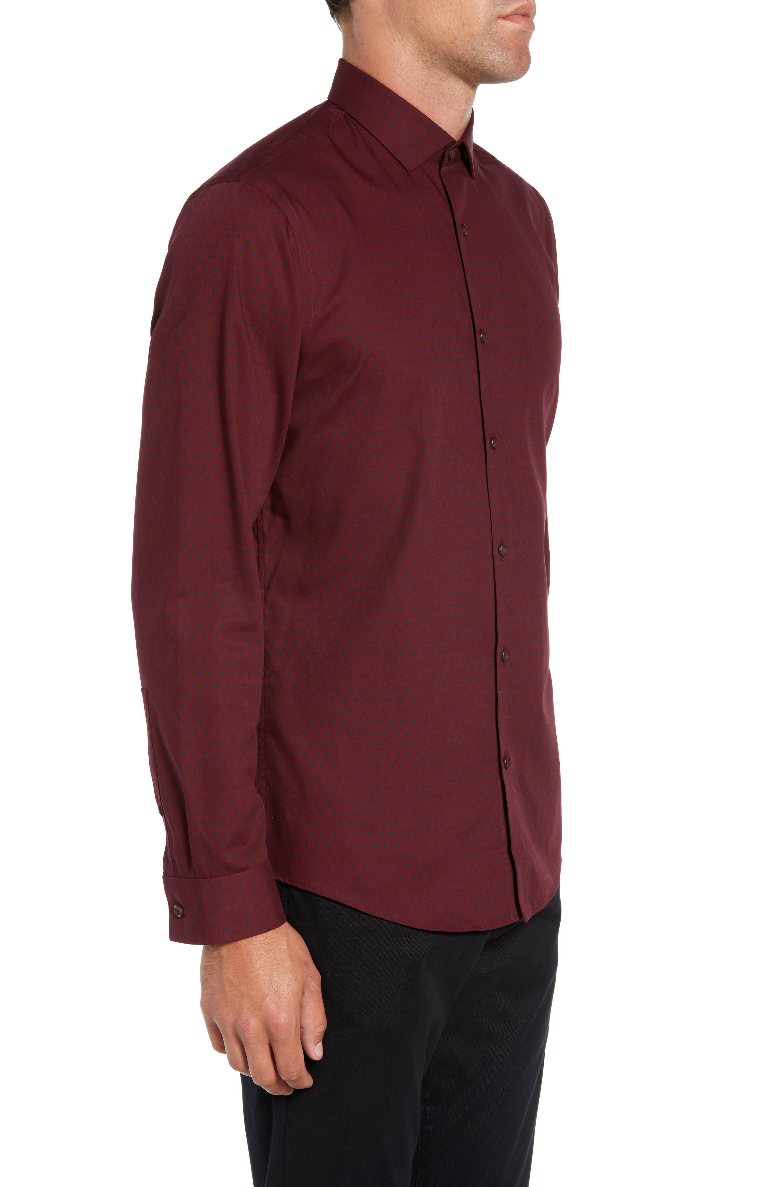 Slim Fit Non Iron Polka Dot Sport Shirt,                             Alternate thumbnail 4, color,                             BURGUNDY ROYALE NAVY DOT