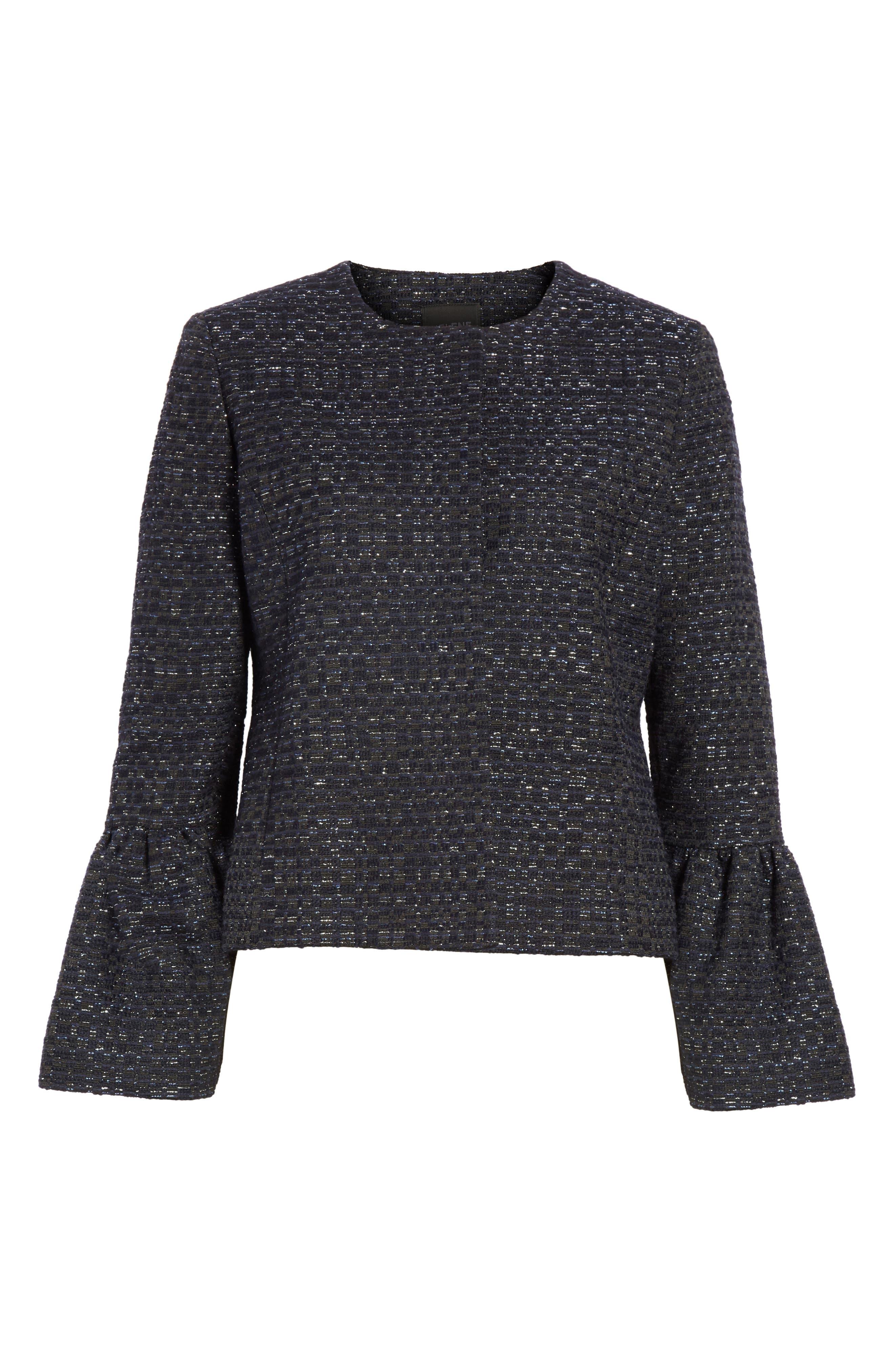 Zoe Bell Cuff Tweed Jacket,                             Alternate thumbnail 5, color,                             400