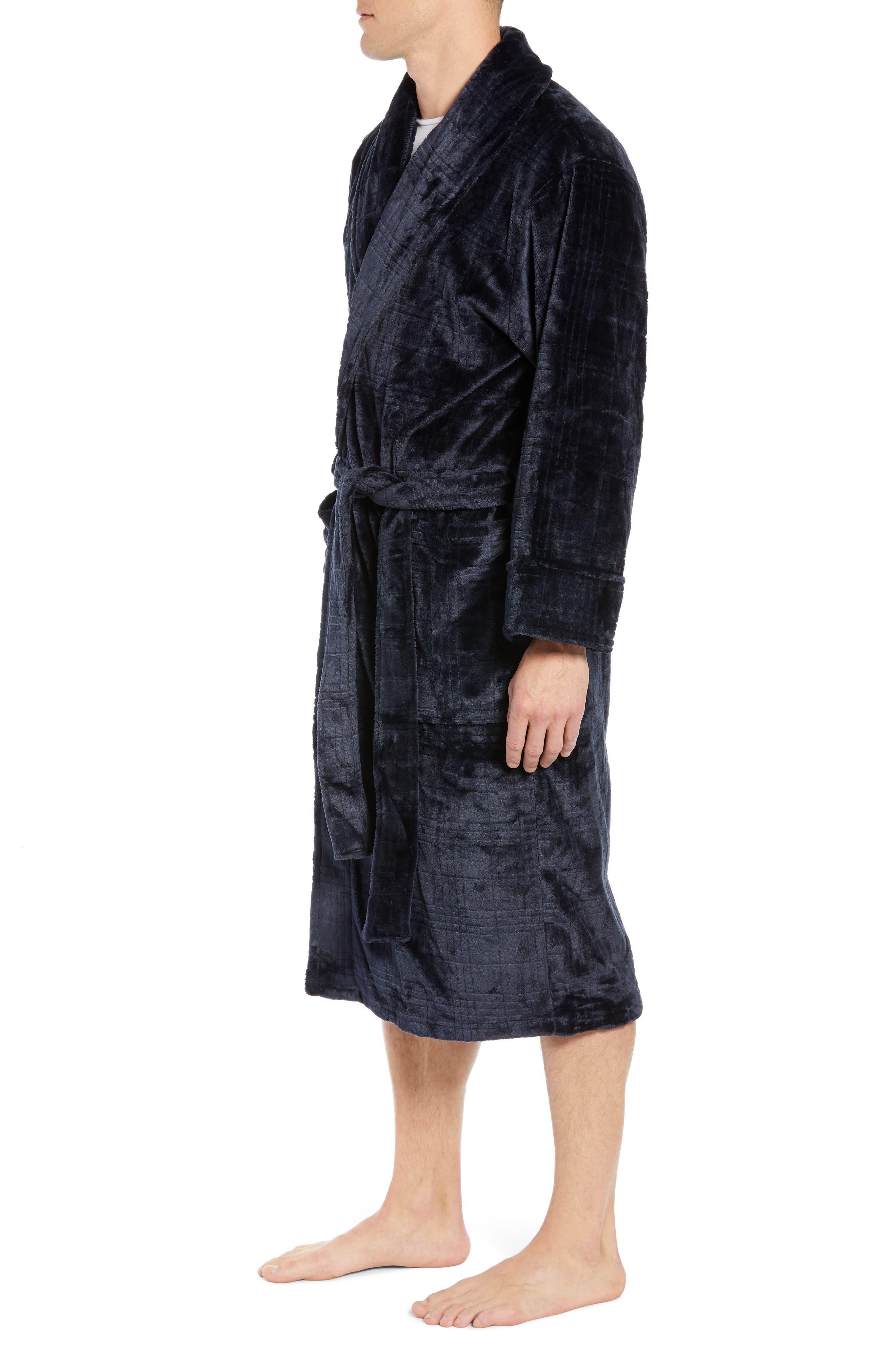 Plaid Plush Jacquard Robe,                             Alternate thumbnail 3, color,                             MIDNIGHT