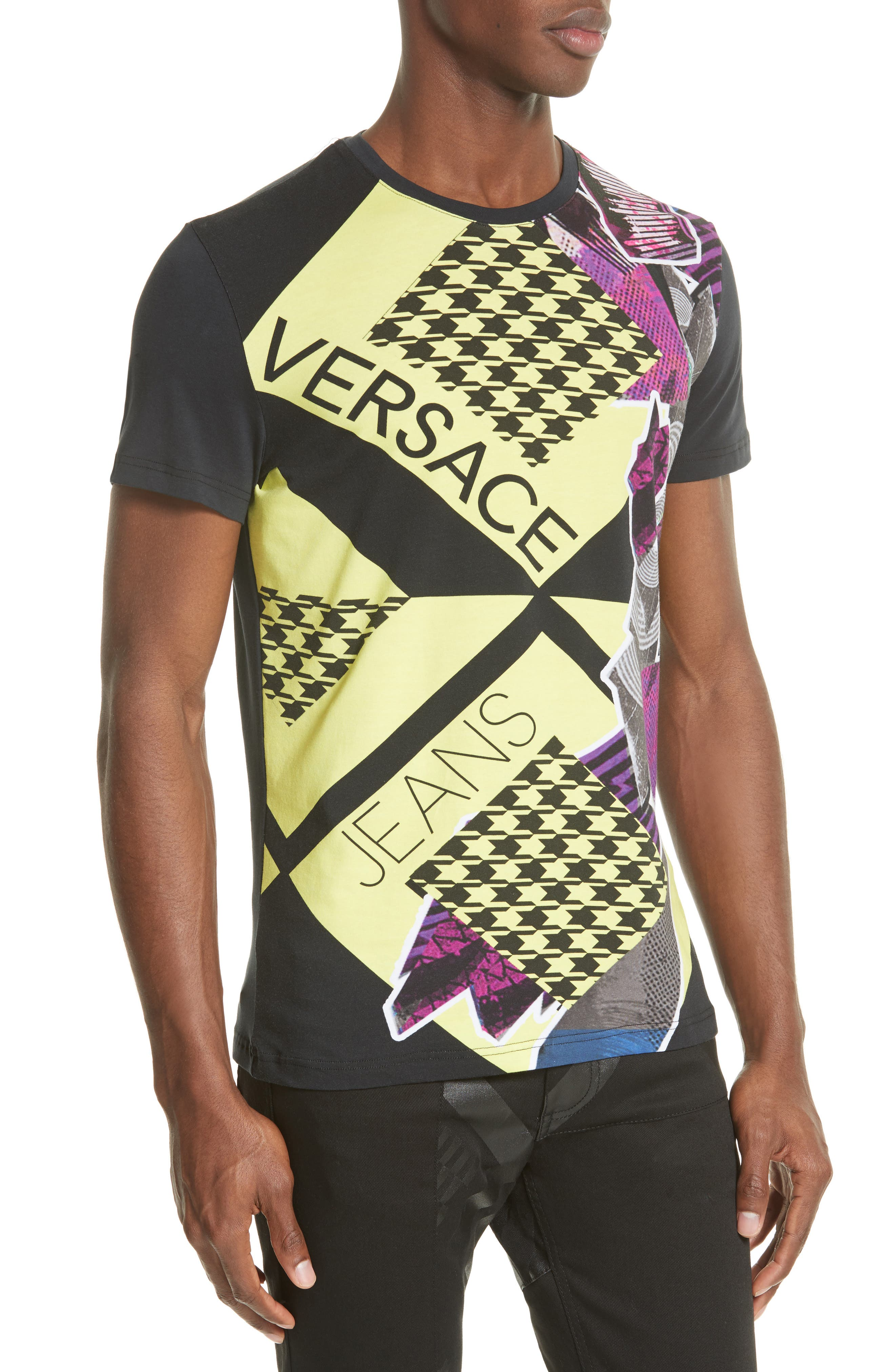 Houndstooth Collage T-Shirt,                             Alternate thumbnail 4, color,                             001