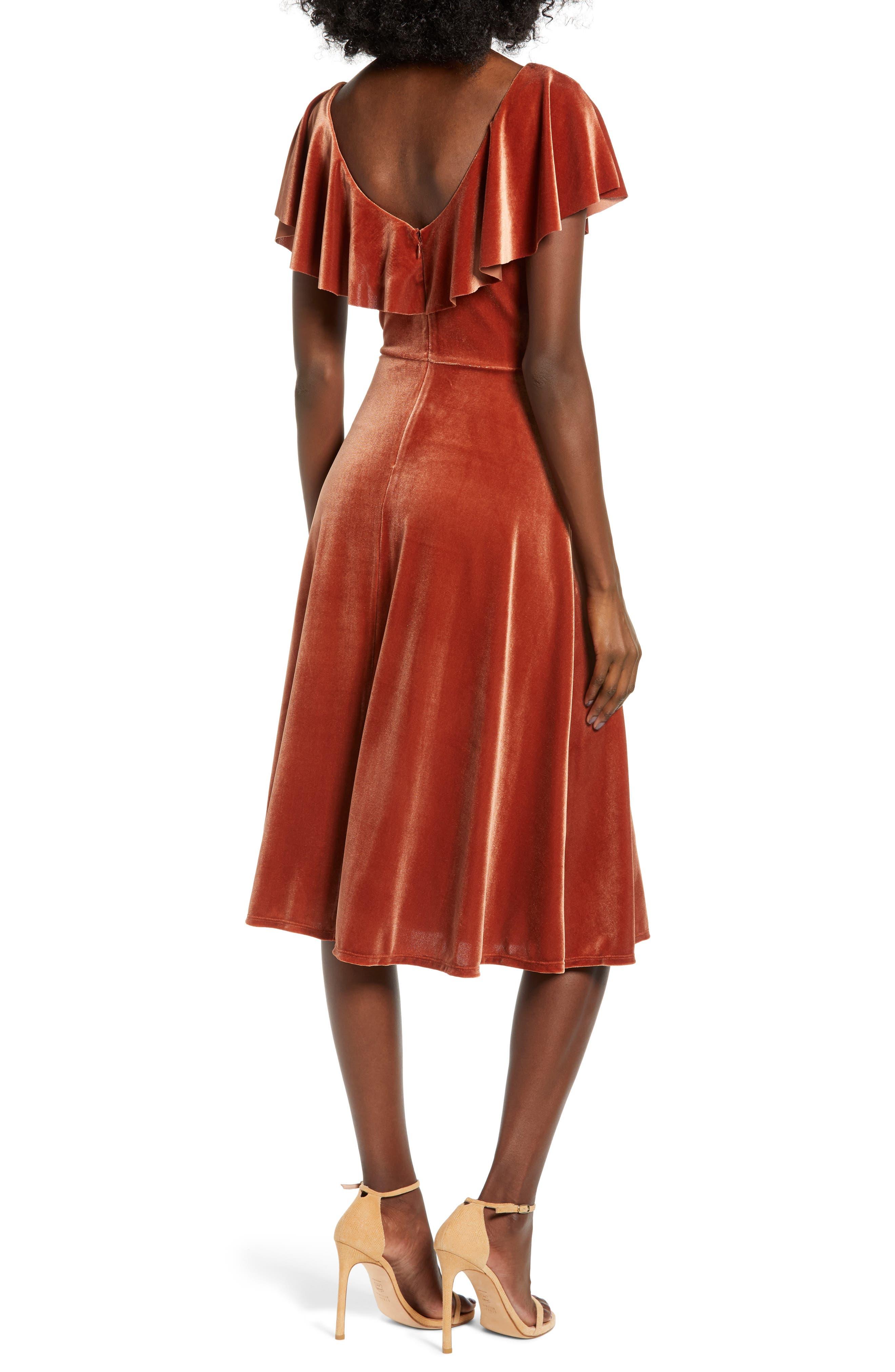 Ruffle Midi Dress,                             Alternate thumbnail 2, color,                             205