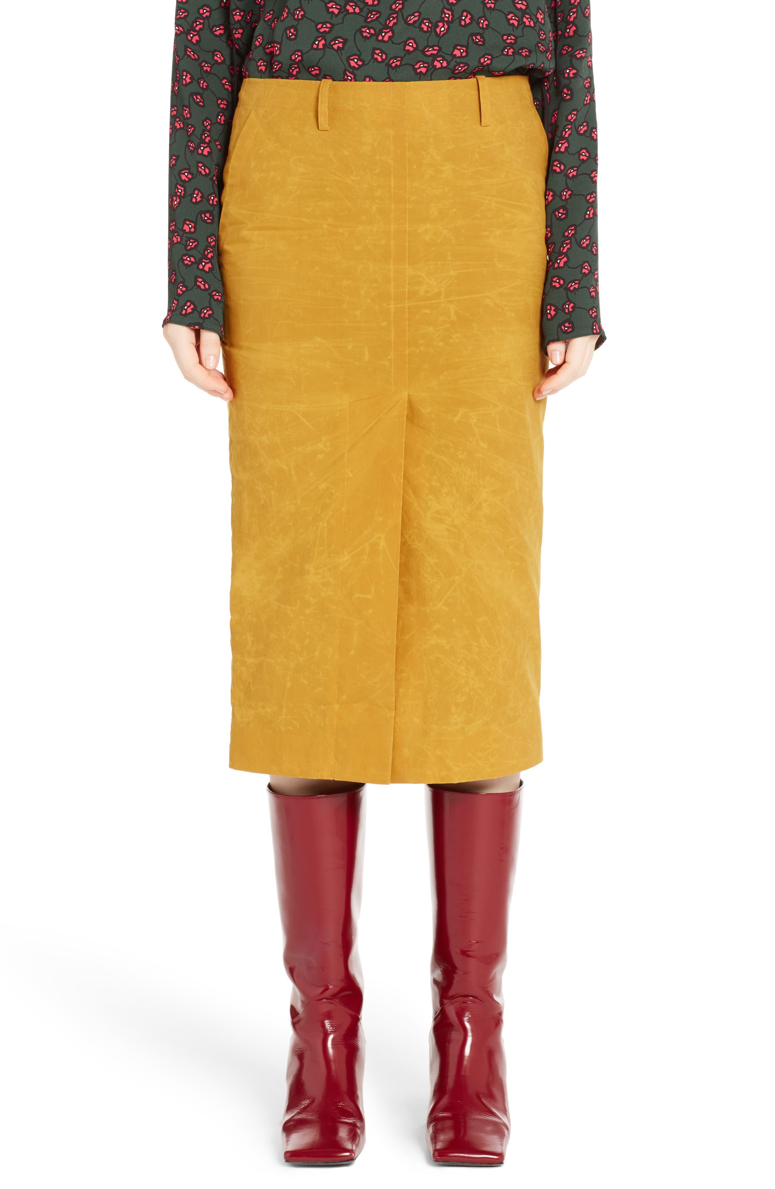 Waxed Cotton Pencil Skirt,                         Main,                         color, 700