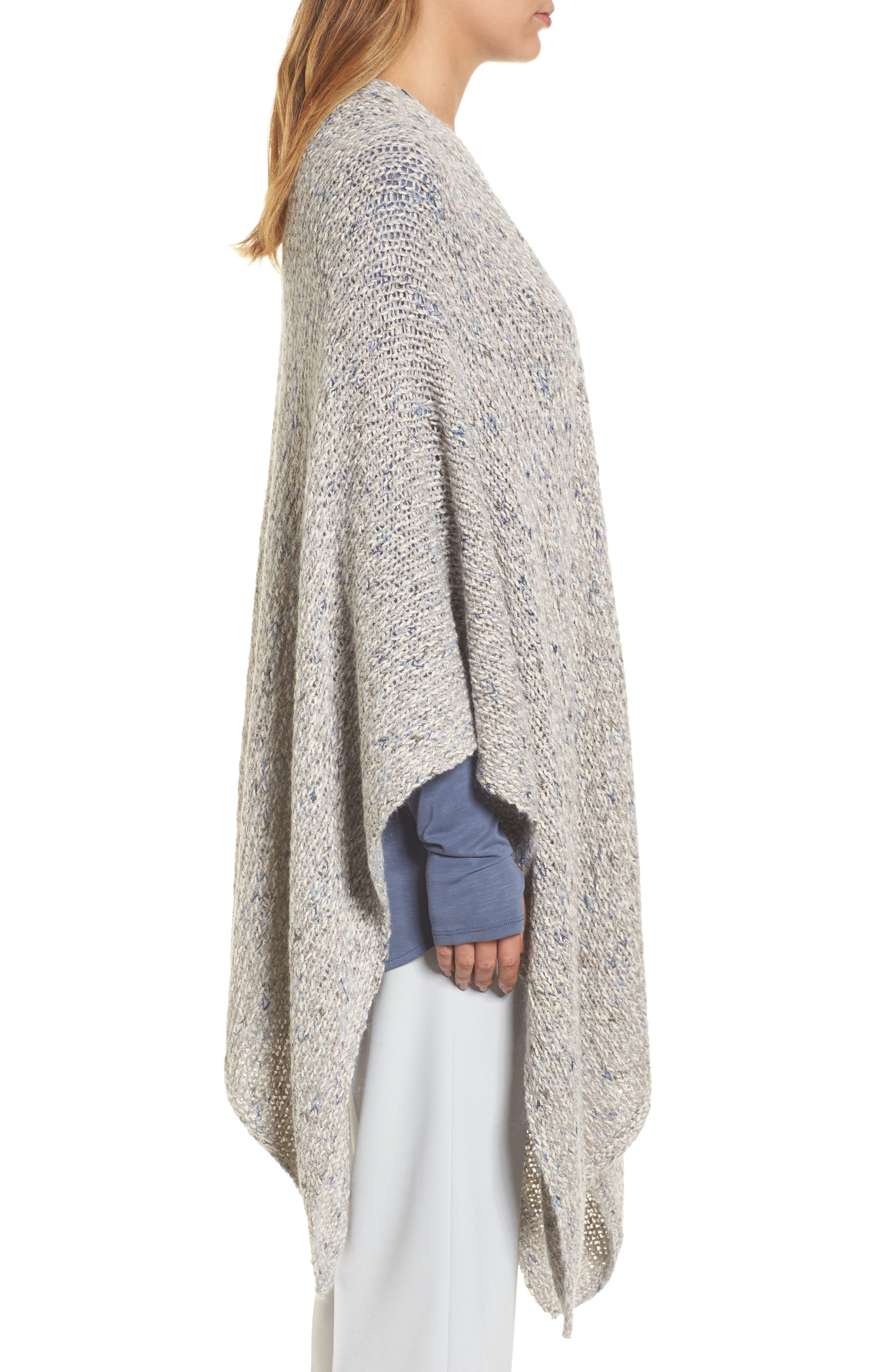 Luna Cotton Blend Knit Wrap Cape,                             Alternate thumbnail 3, color,                             090