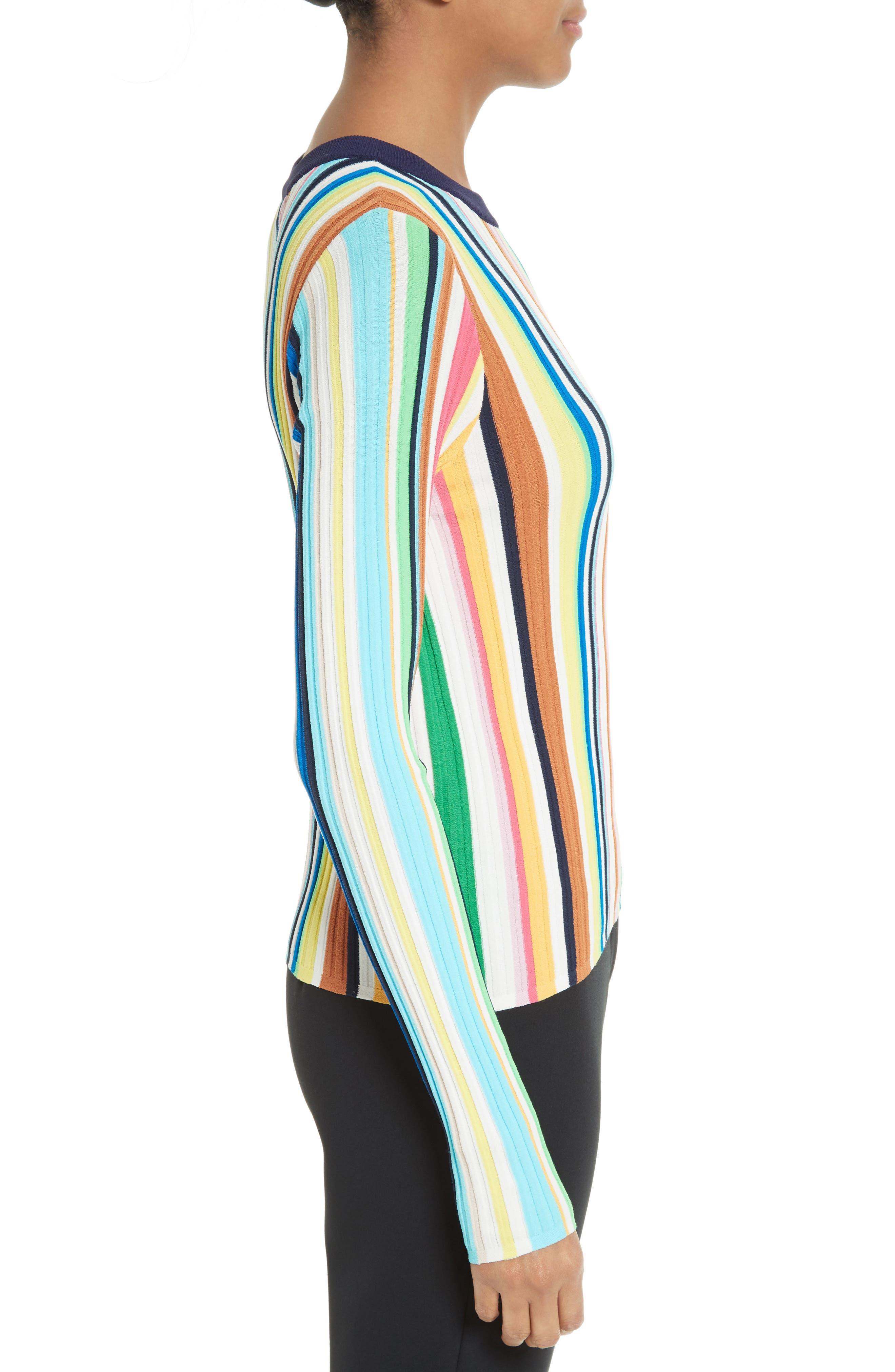Vertical Stripe Knit Pullover,                             Alternate thumbnail 3, color,                             400