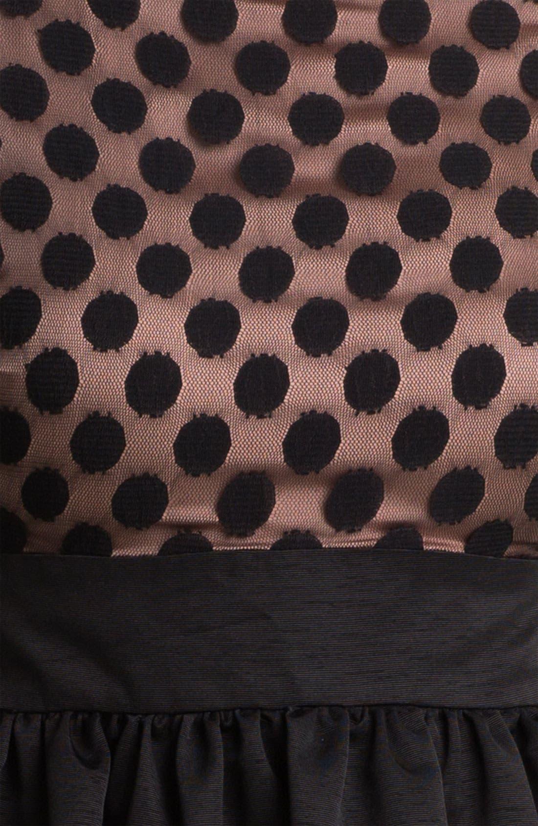 Dot Mesh Bodice Fit & Flare Dress,                             Alternate thumbnail 17, color,