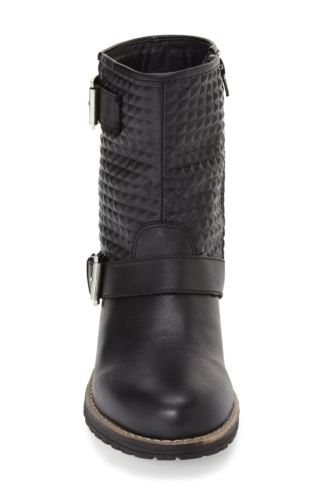 'Granada' Waterproof Pyramid Studded Boot,                             Alternate thumbnail 3, color,                             BLACK