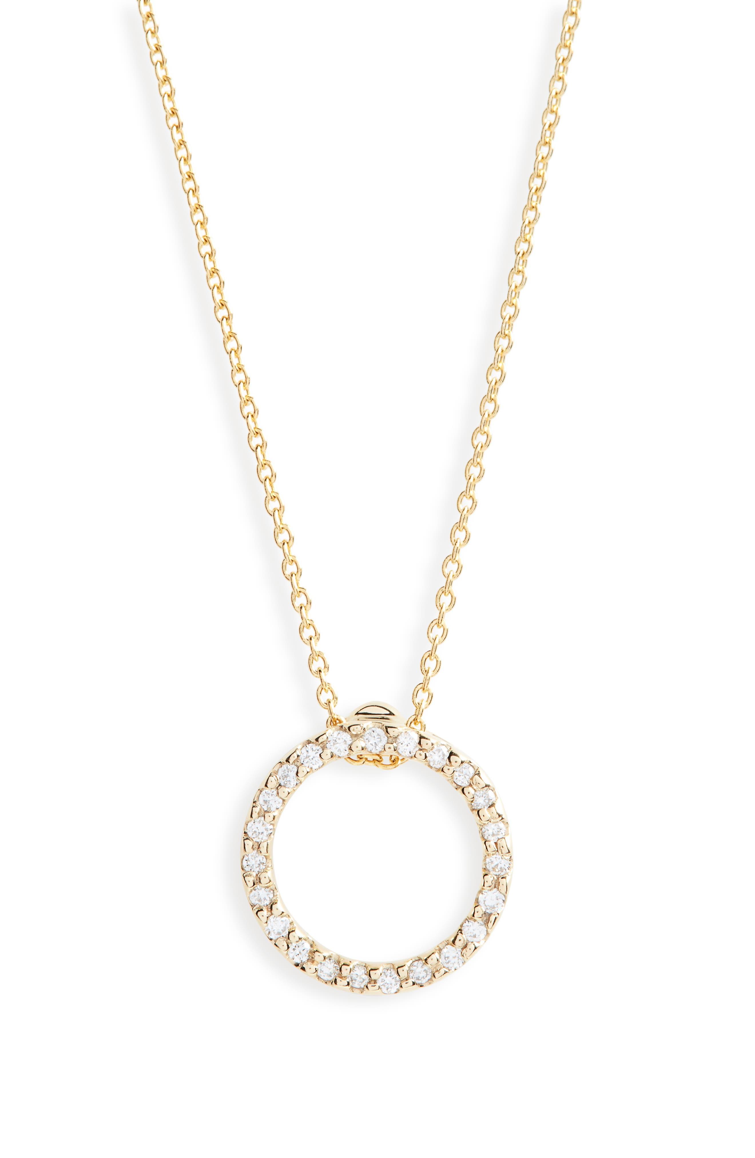XS Diamond Pendant Necklace,                         Main,                         color, D0.12 GHSI 18KYG