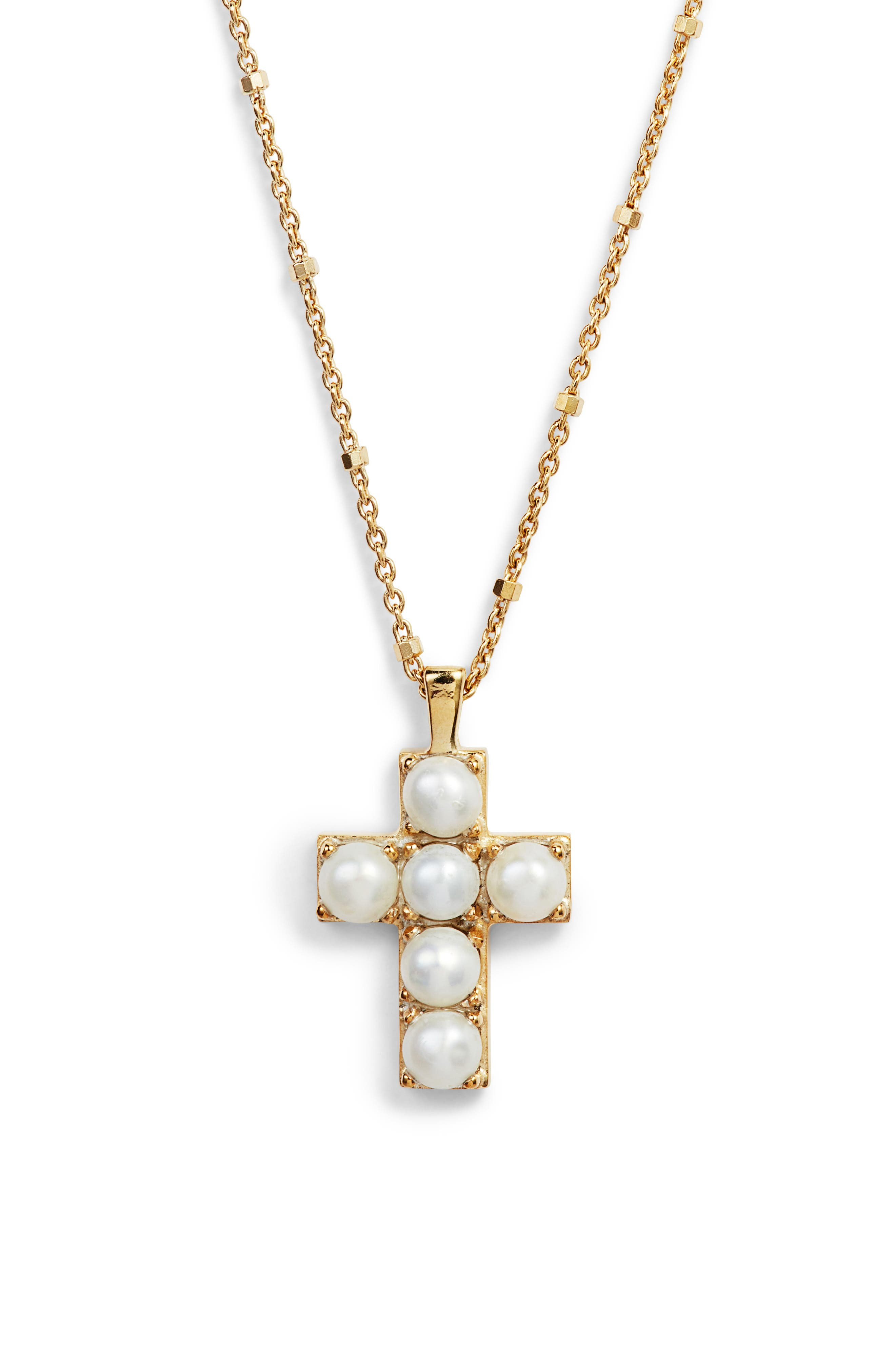 Cultured Pearl Cross Pendant Necklace, Main, color, PEARL/ GOLD