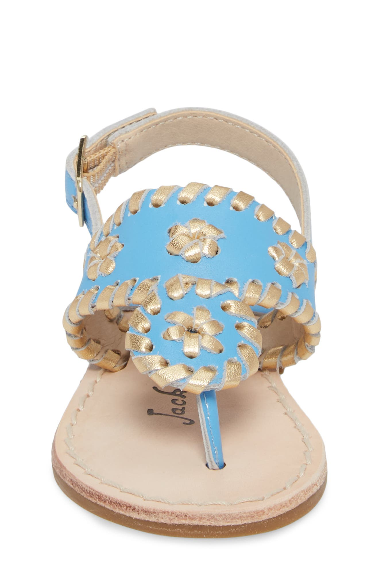 Little Miss Hollis Metallic Trim Sandal,                             Alternate thumbnail 4, color,                             FRENCH BLUE/ GOLD LEATHER