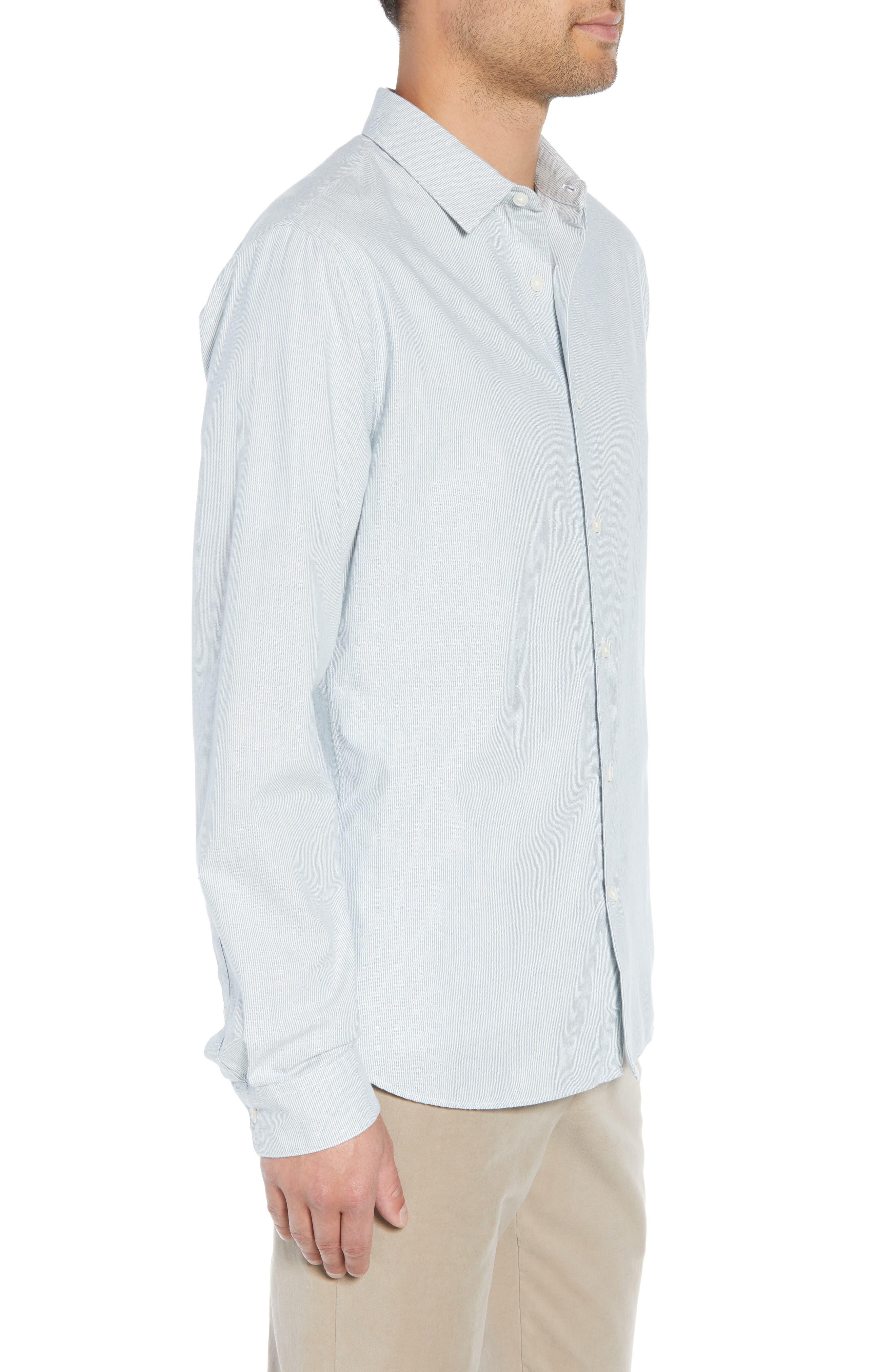 Classic Fit Microstripe Sport Shirt,                             Alternate thumbnail 4, color,                             424