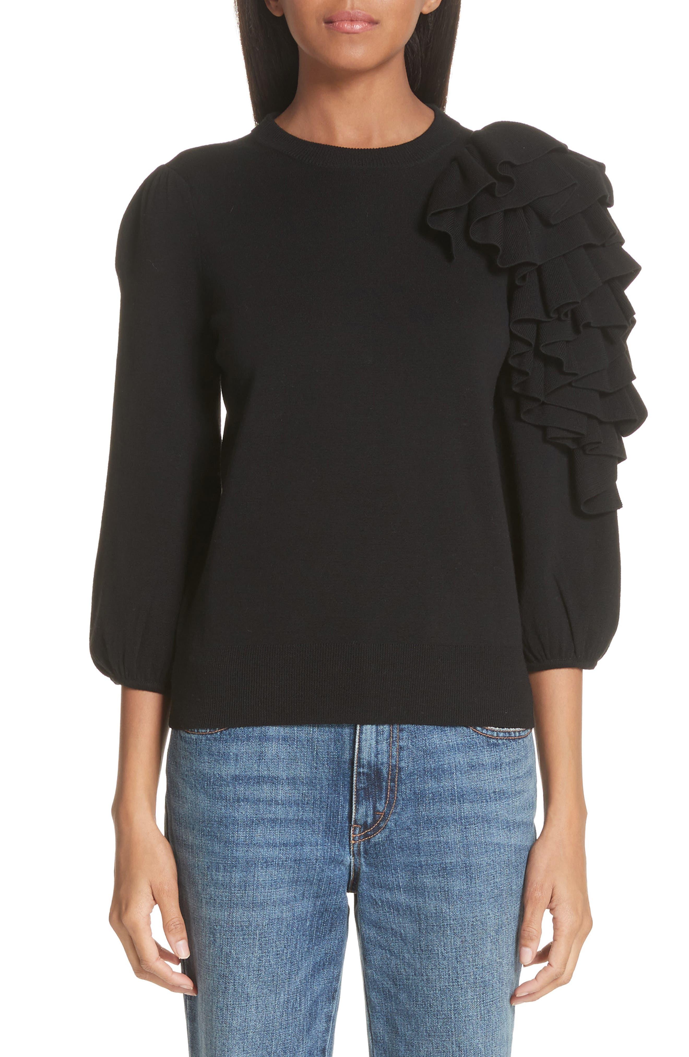 Co Ruffle Sleeve Merino Wool Sweater, Black