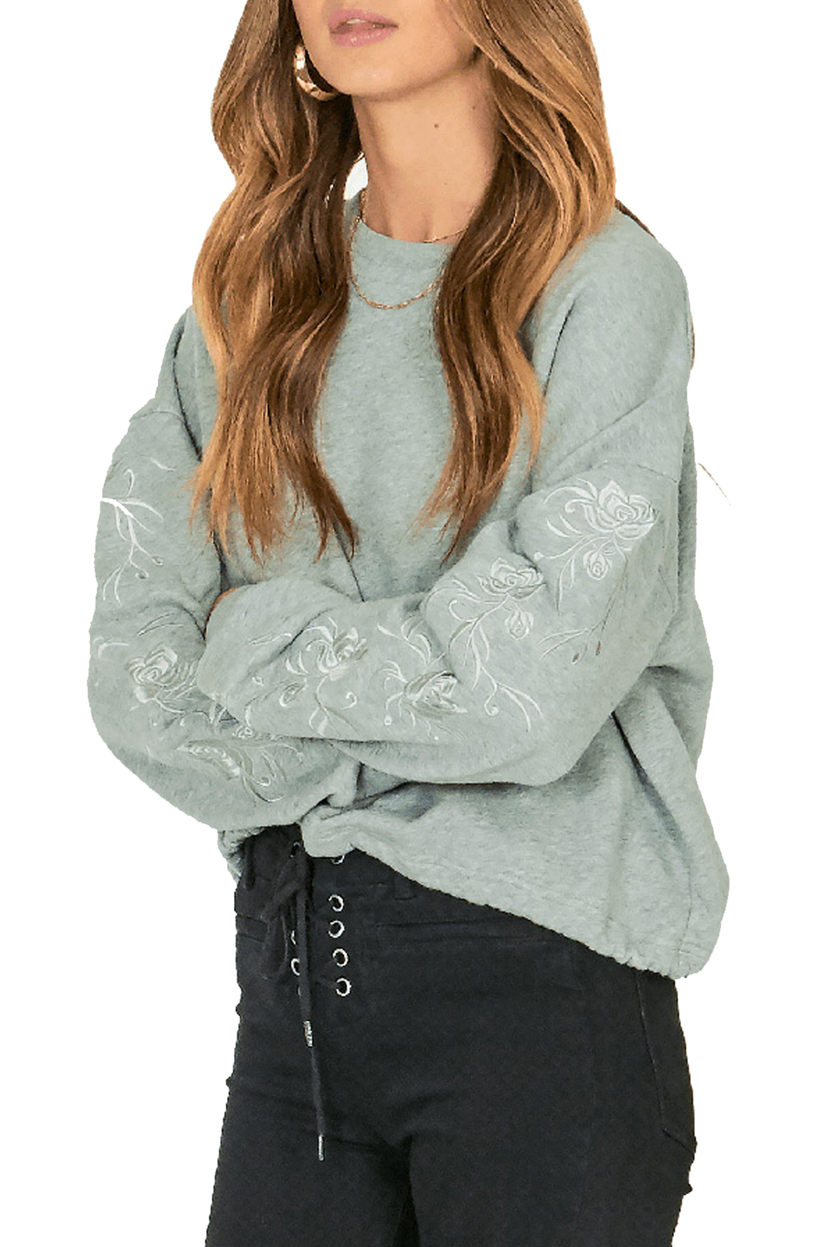 AMUSE SOCIETY El Campo Embroidered Sweatshirt in Grey Heather