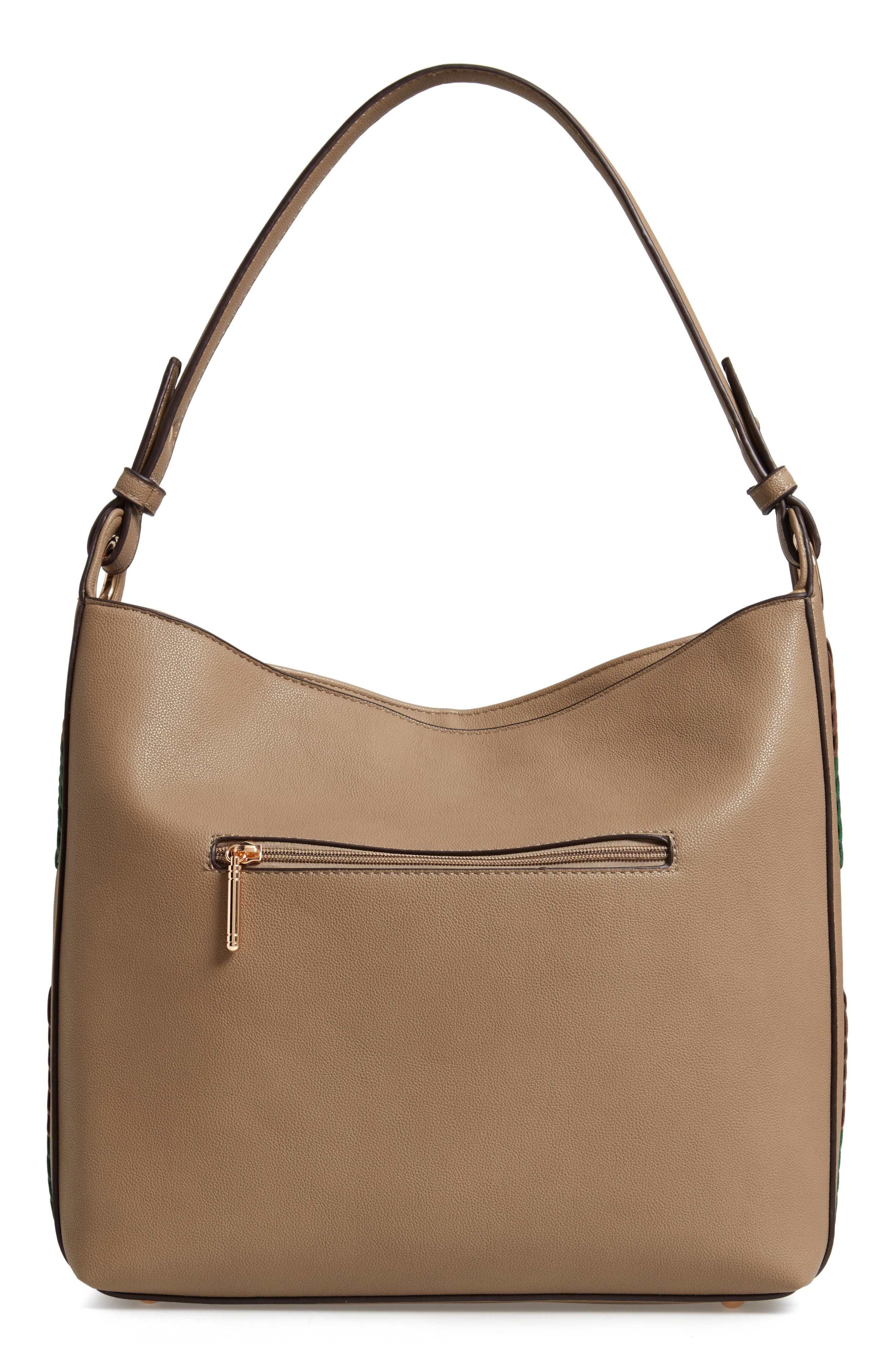 Faux Leather Hobo,                             Alternate thumbnail 3, color,                             TAUPE