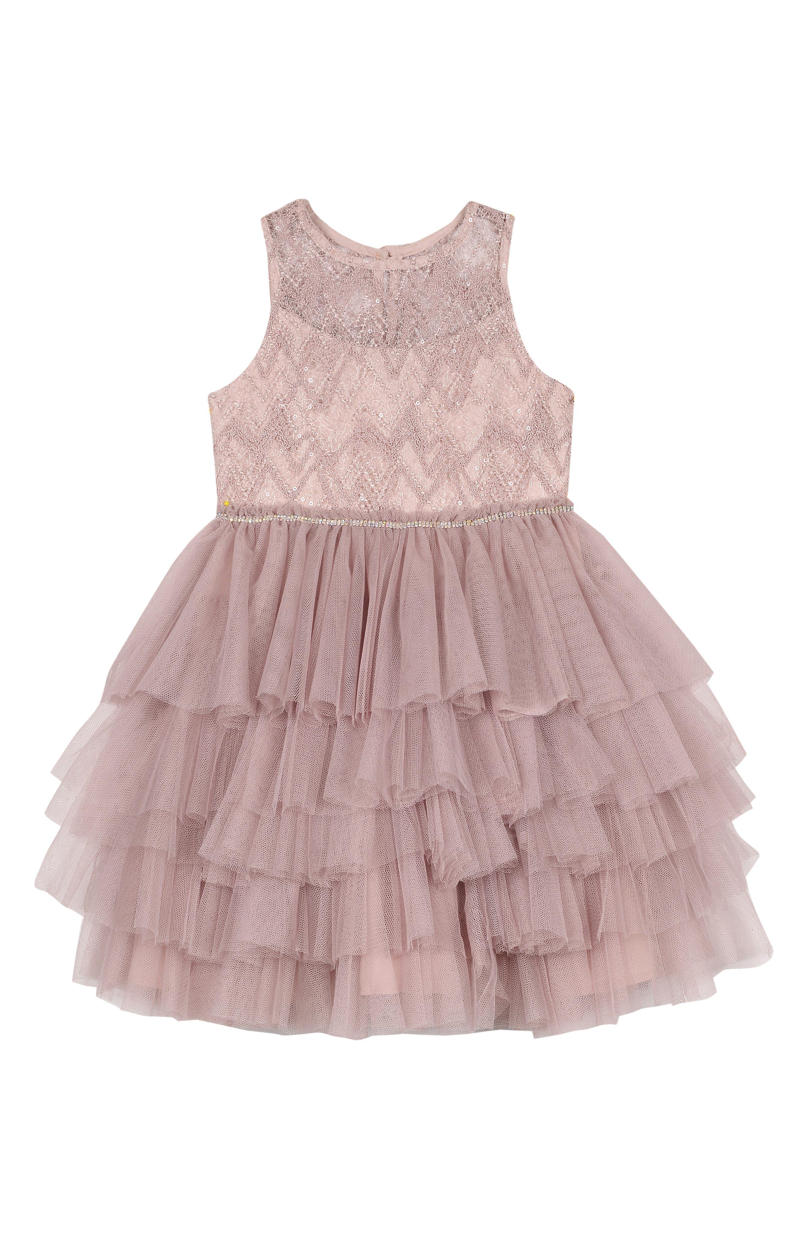 Girls Badgley Mischka Beaded Tulle Party Dress