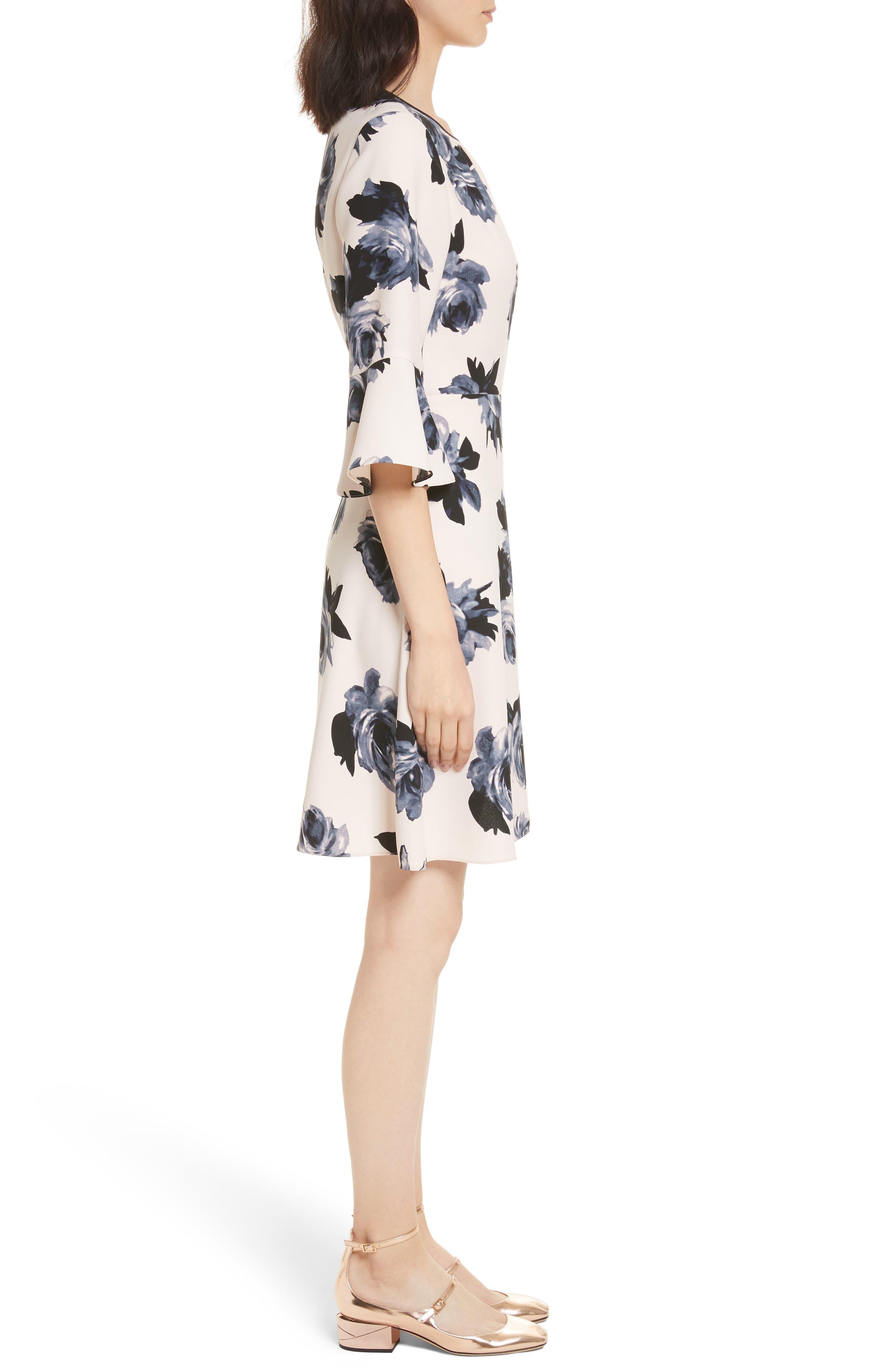 night rose ruffle sleeve dress,                             Alternate thumbnail 3, color,                             672