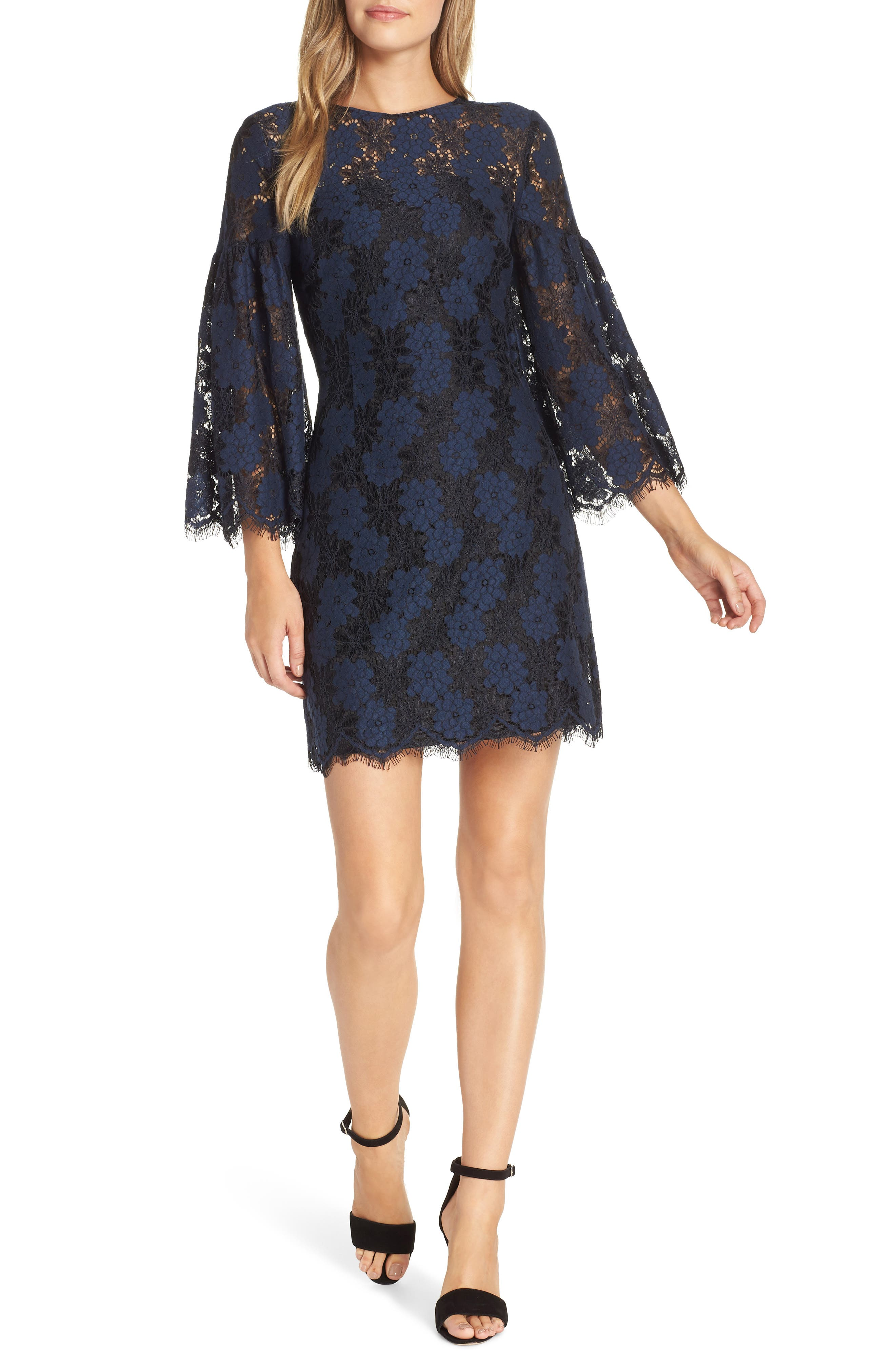 Two-Tone Lace Shift Dress,                             Main thumbnail 1, color,                             BLACK/ BLUE FLOWER