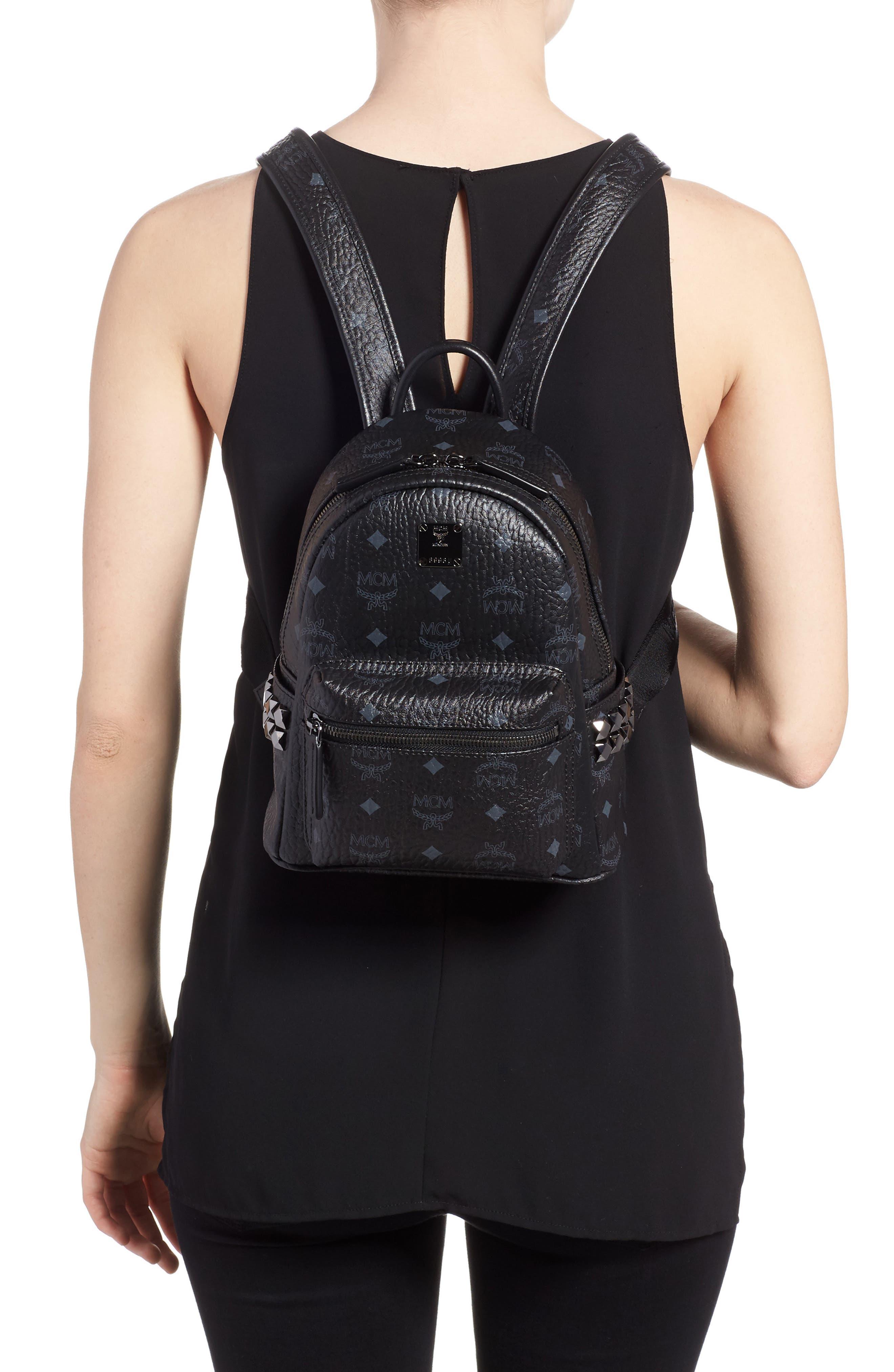 Mini Stark Side Stud Coated Canvas Backpack,                             Alternate thumbnail 2, color,                             BLACK