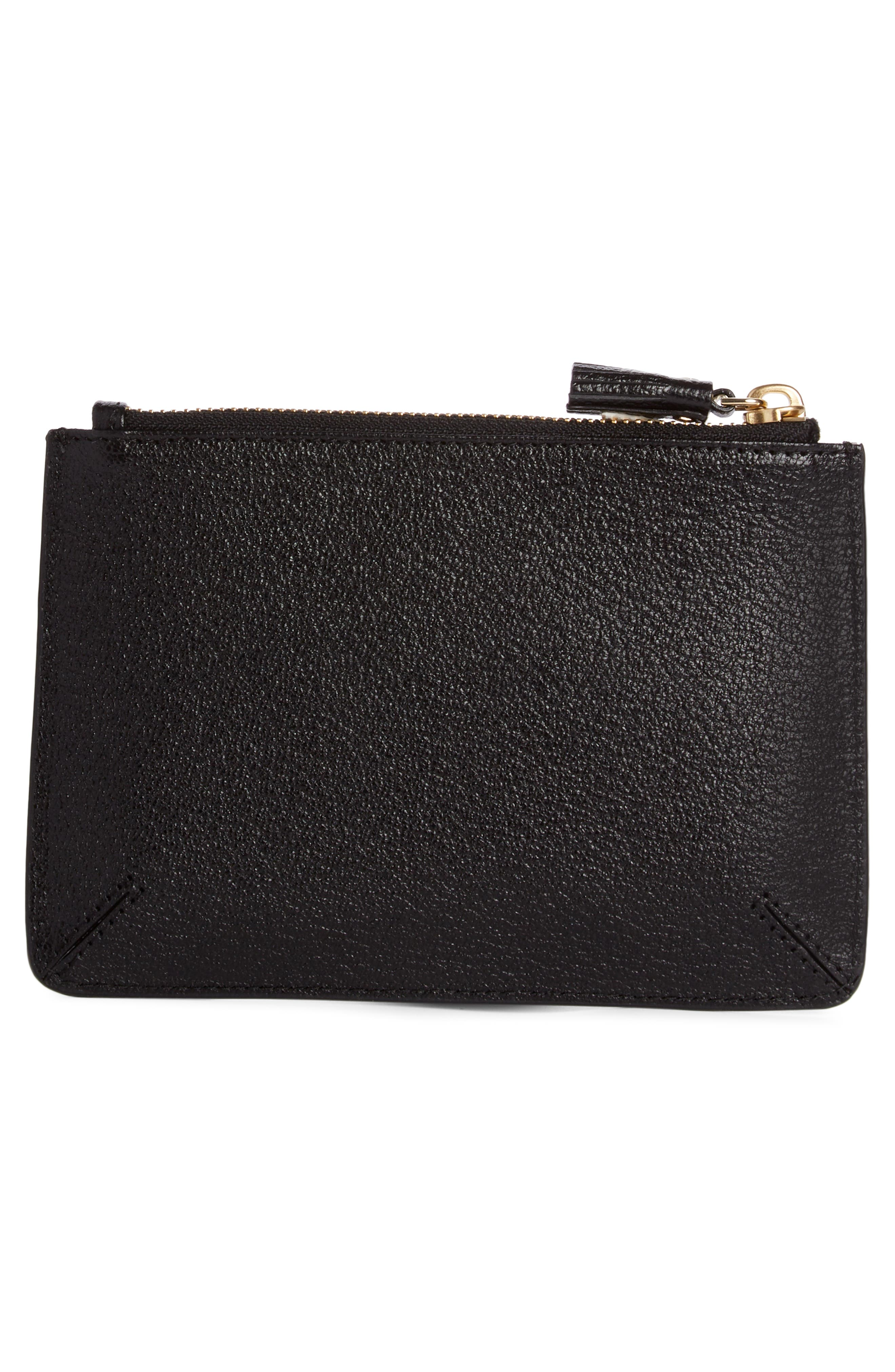 Eyes Leather Zip Pouch,                             Alternate thumbnail 2, color,                             BLACK/ LIGHT GREY