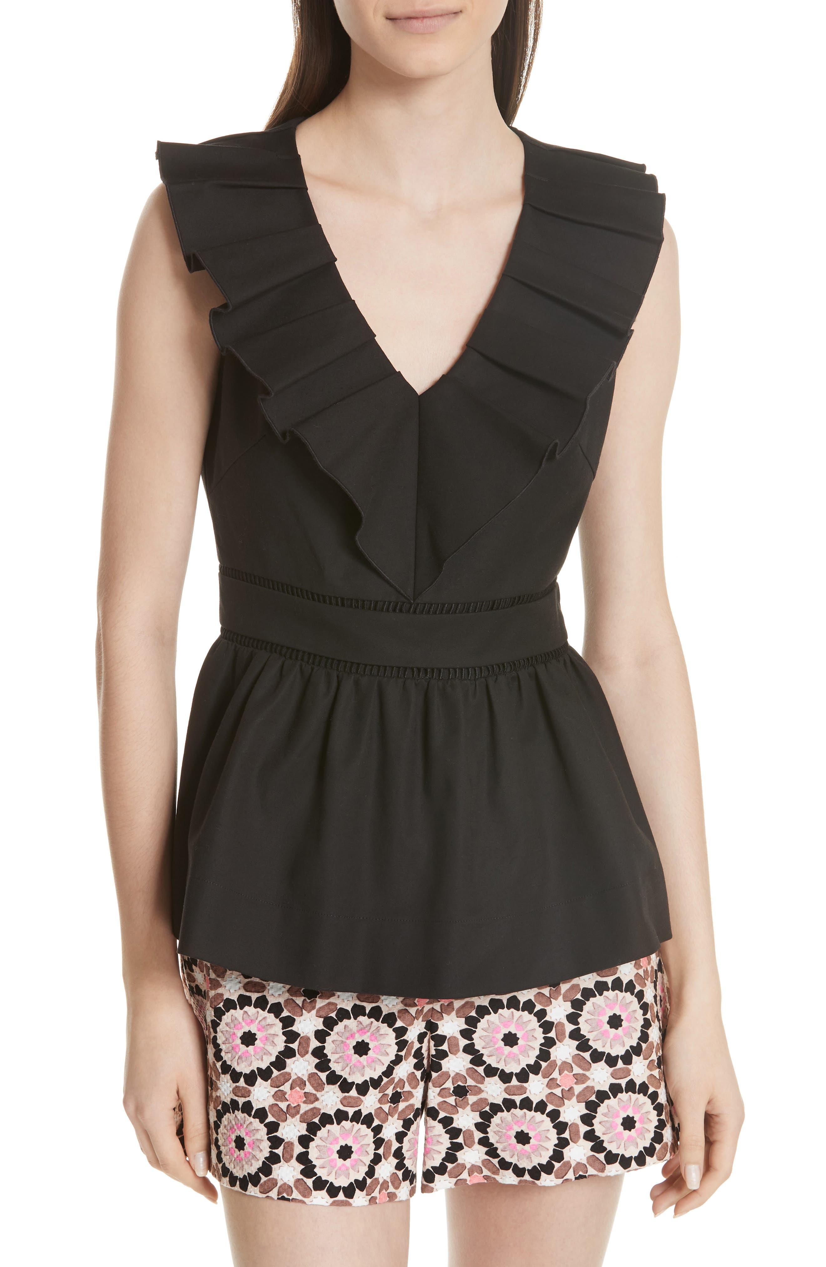 ruffle neck stretch cotton peplum blouse,                             Main thumbnail 1, color,
