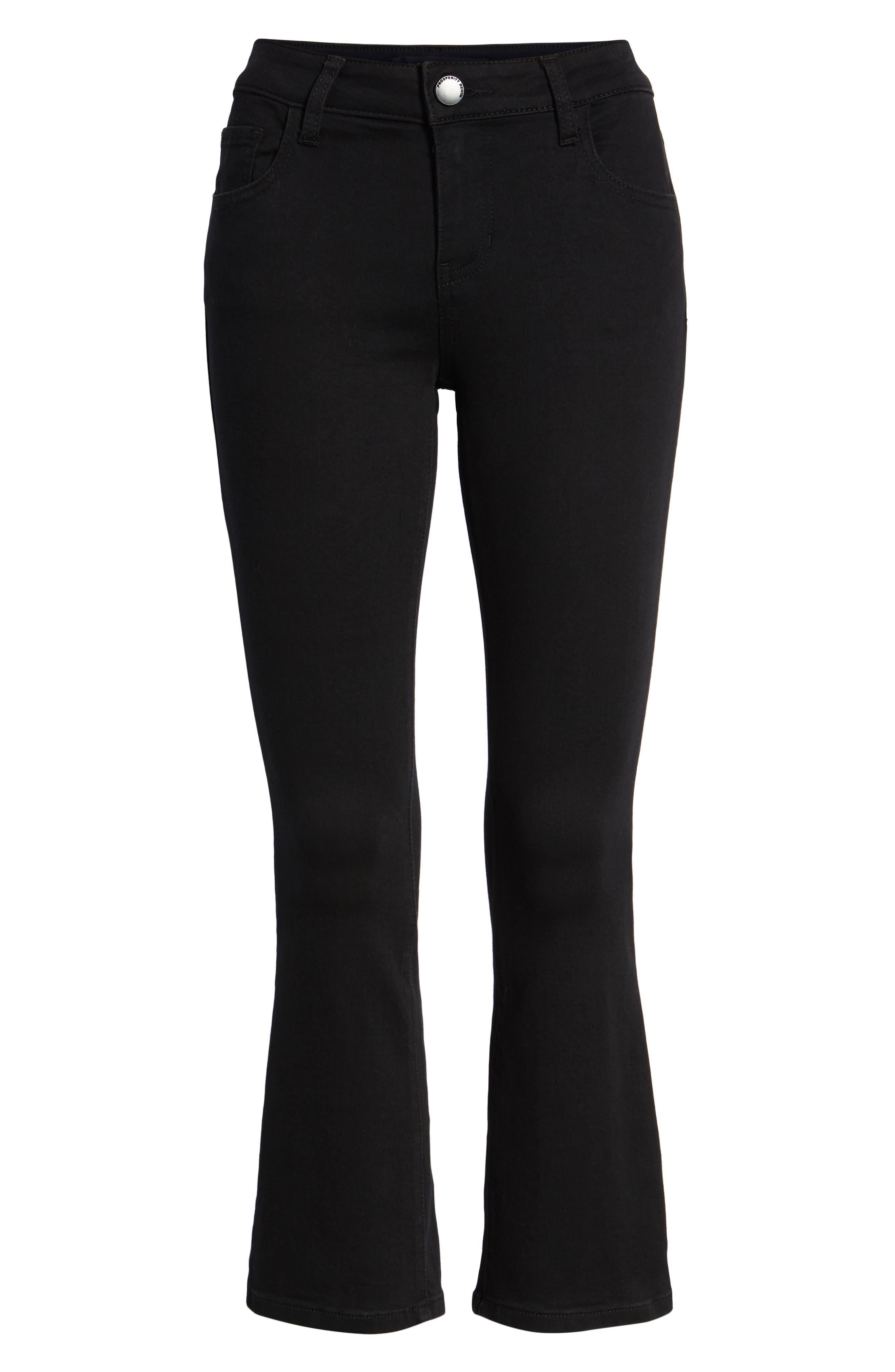 Crop Flare Jeans,                             Alternate thumbnail 7, color,                             BLACK