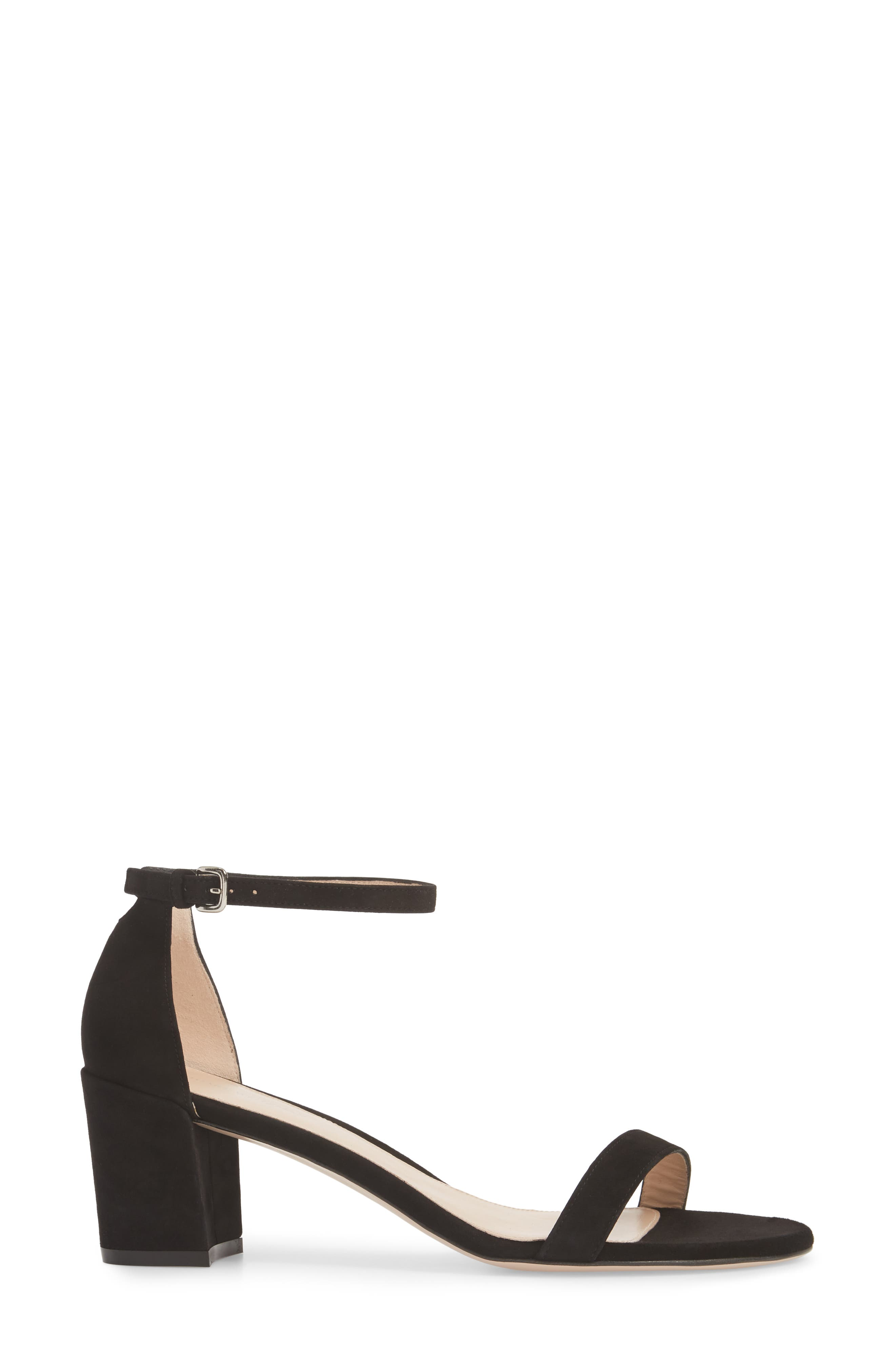 Simple Ankle Strap Sandal,                             Alternate thumbnail 3, color,                             BLACK SUEDE