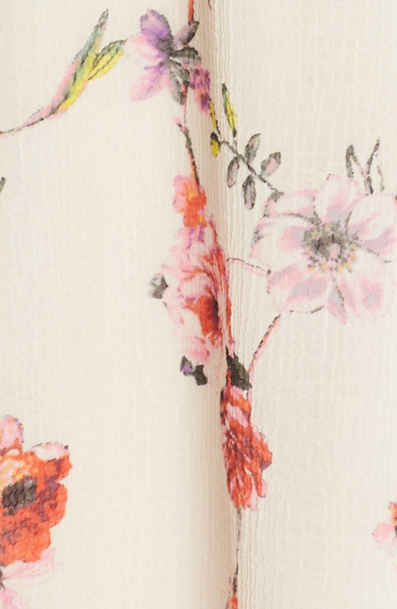 Bonita Oasis Floral Dress,                             Alternate thumbnail 6, color,                             IVORY MULTI
