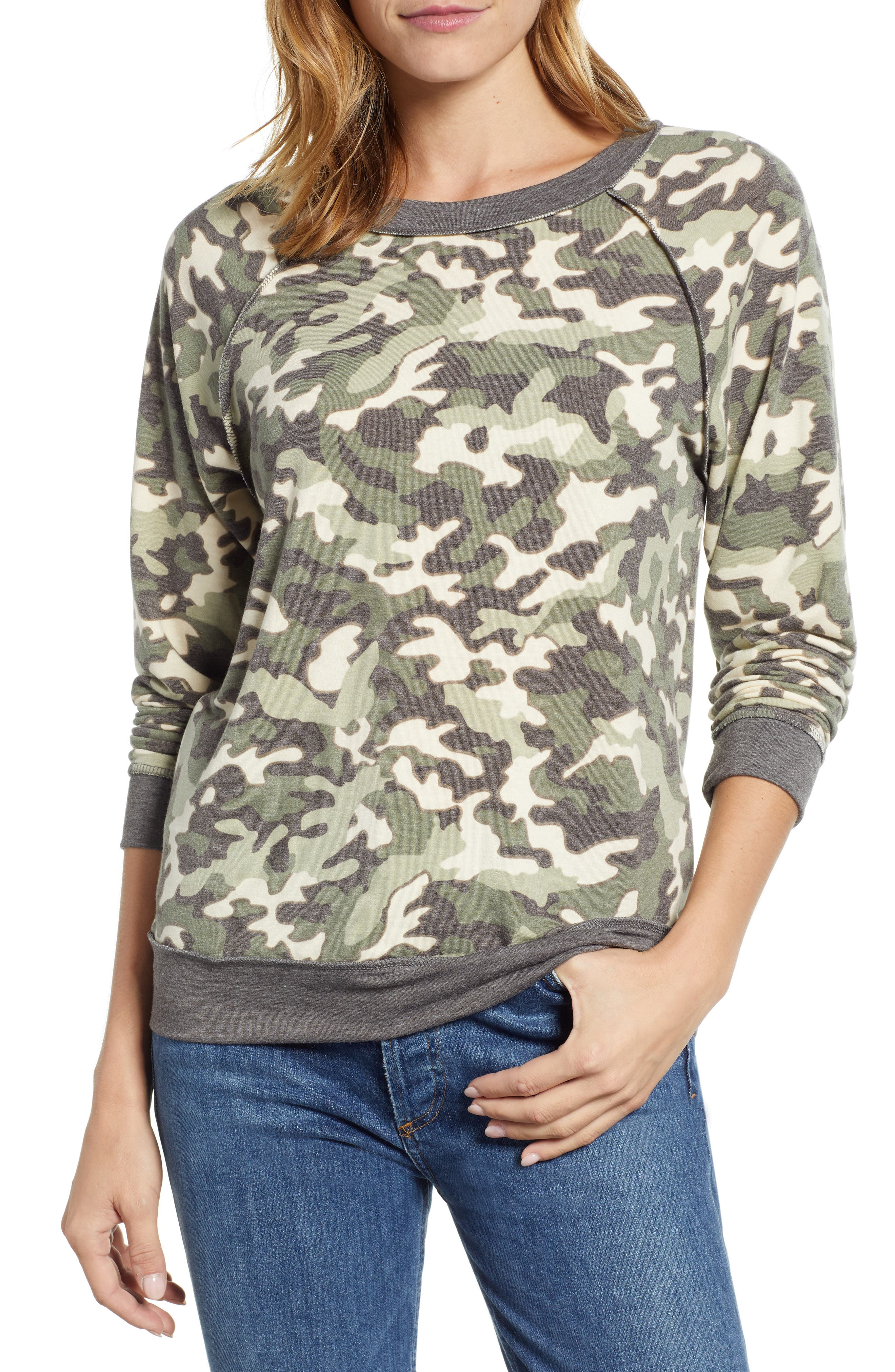 Floral Print Sweatshirt,                         Main,                         color, 300