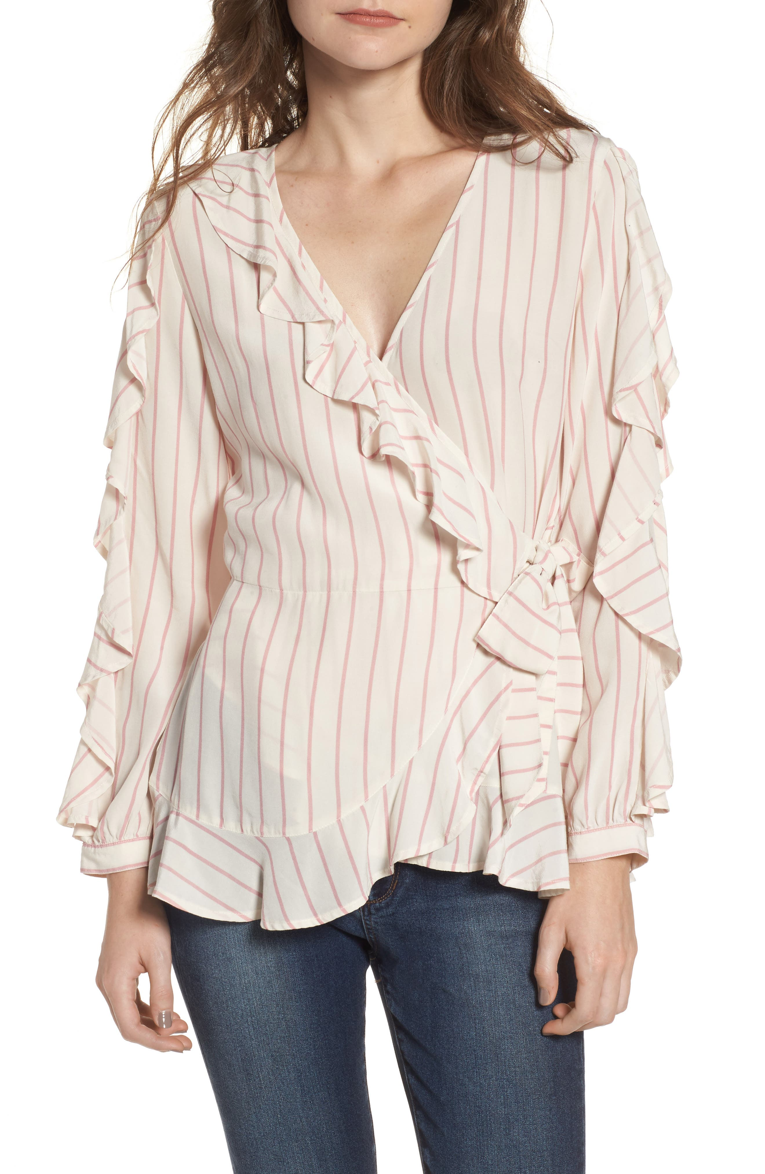 Ruffle Wrap Top,                         Main,                         color, 100