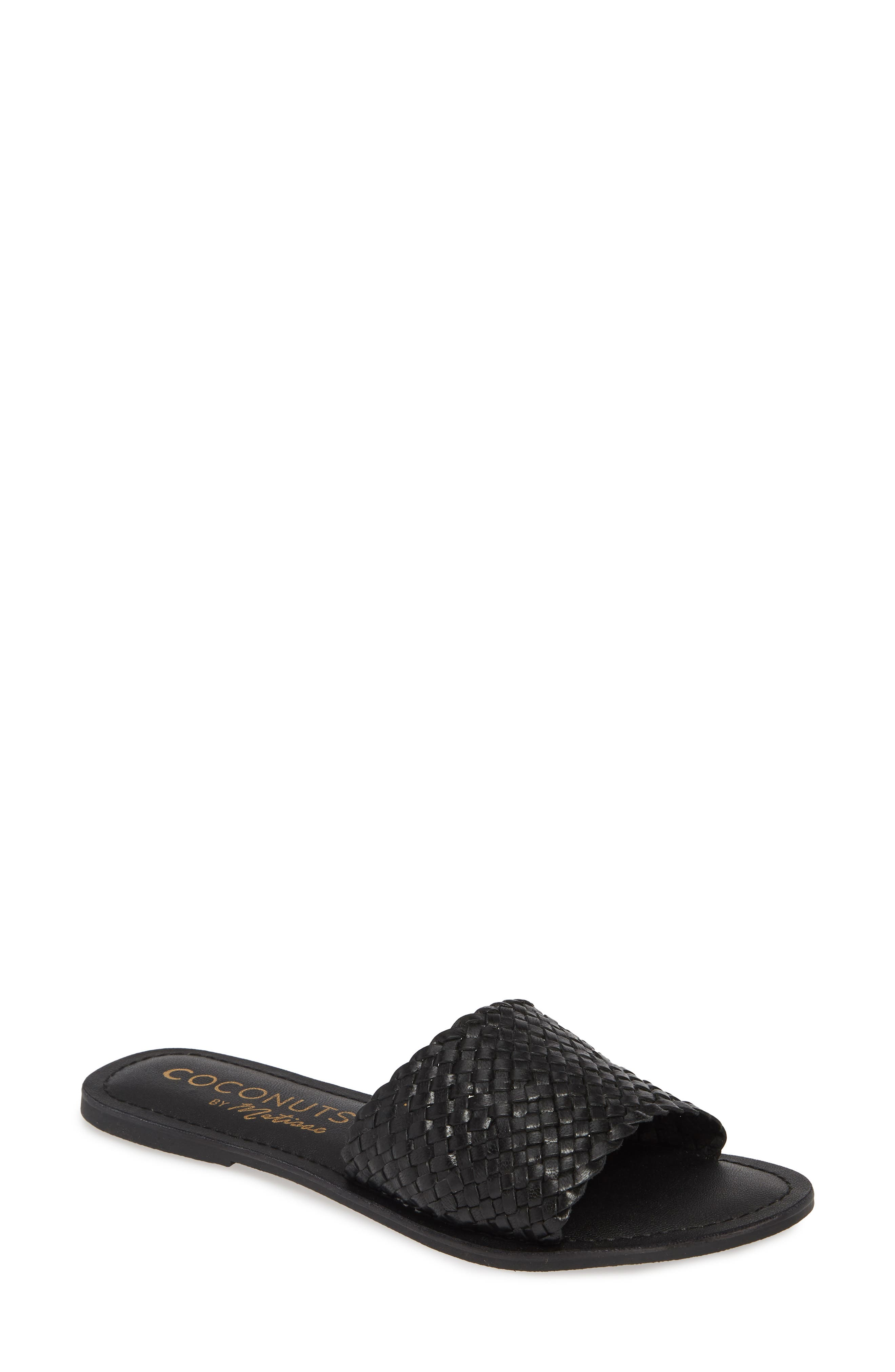 COCONUTS BY MATISSE,                             Zuma Woven Slide Sandal,                             Main thumbnail 1, color,                             BLACK LEATHER