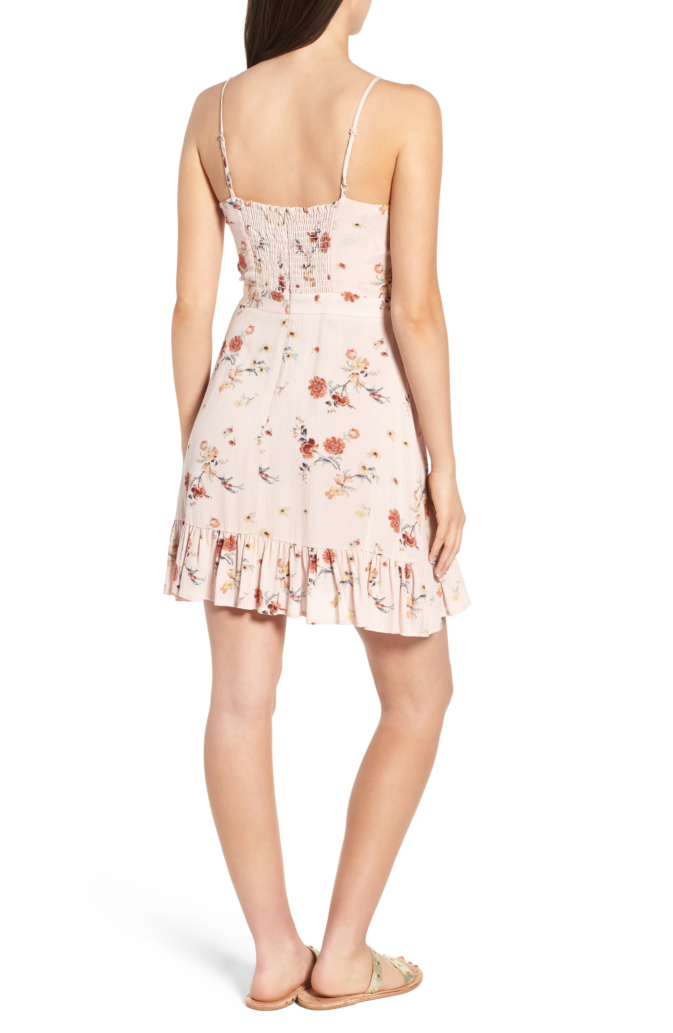 LOST + WANDER,                             Rosa Floral Tie Front Minidress,                             Alternate thumbnail 2, color,                             650