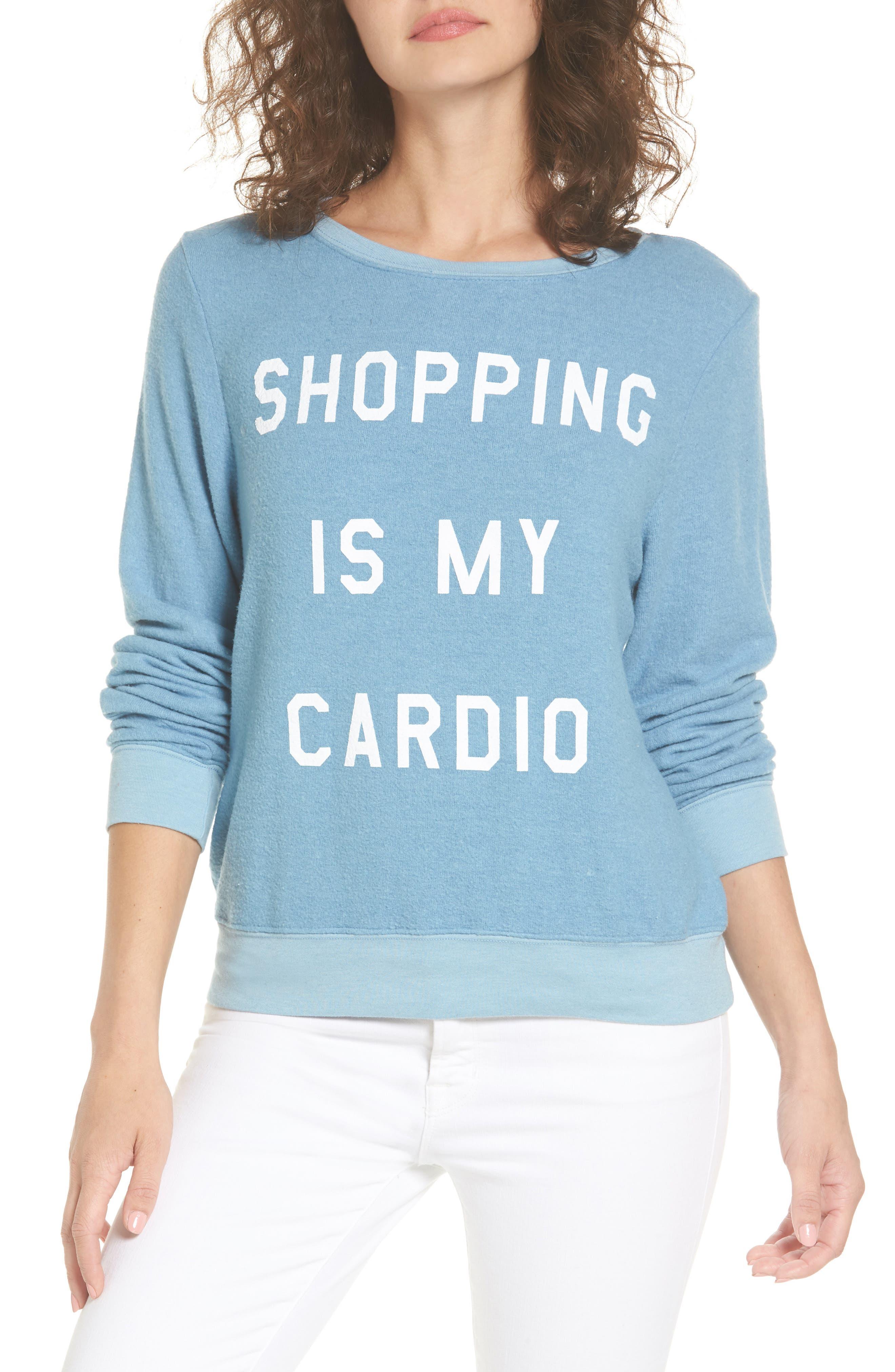 Shopping is My Cardio Sweatshirt,                             Main thumbnail 1, color,                             400