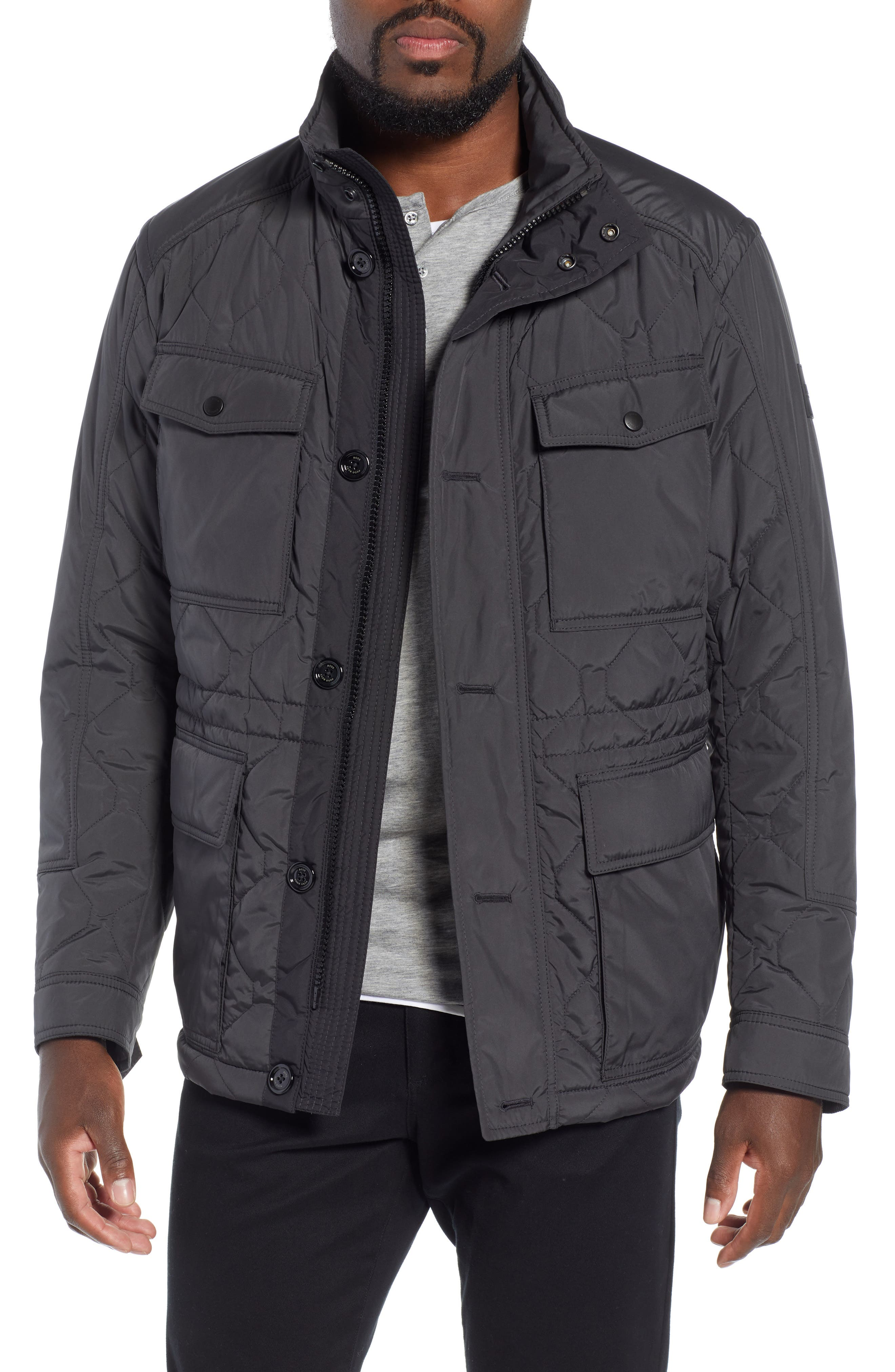 Cloud Quilted Field Jacket with Stowaway Hood,                             Main thumbnail 1, color,                             GREY