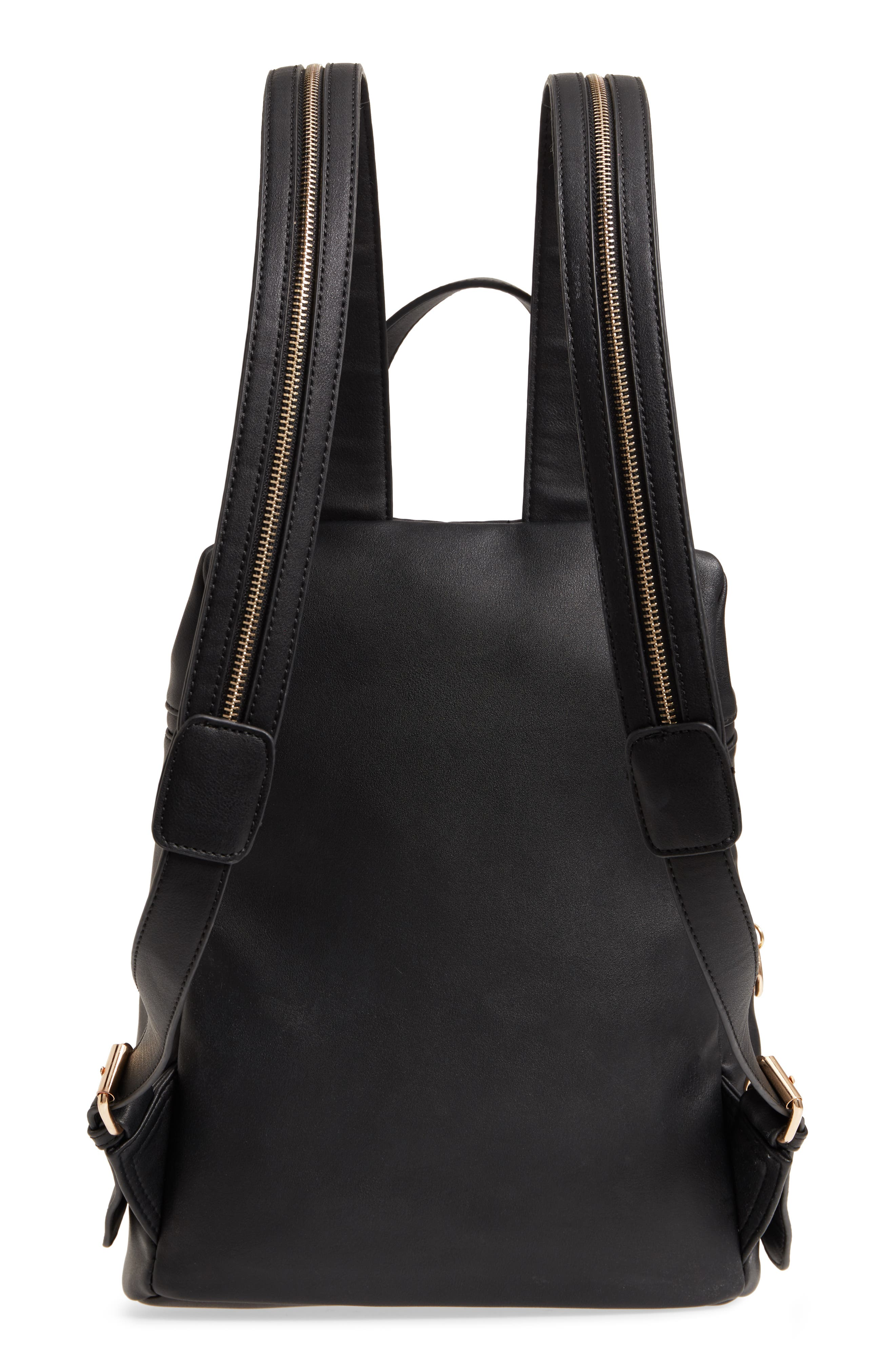 Double Zip O Ring Faux Leather Backpack,                             Alternate thumbnail 3, color,                             001
