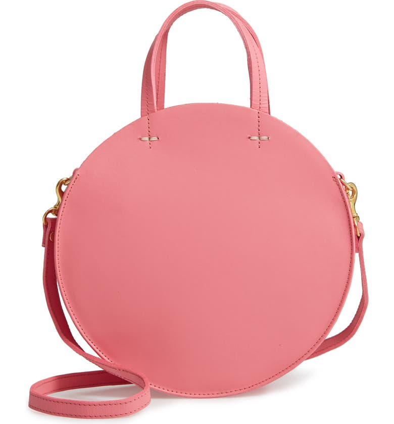 Clare V PETIT ALISTAIR LEATHER CIRCULAR CROSSBODY BAG - PINK
