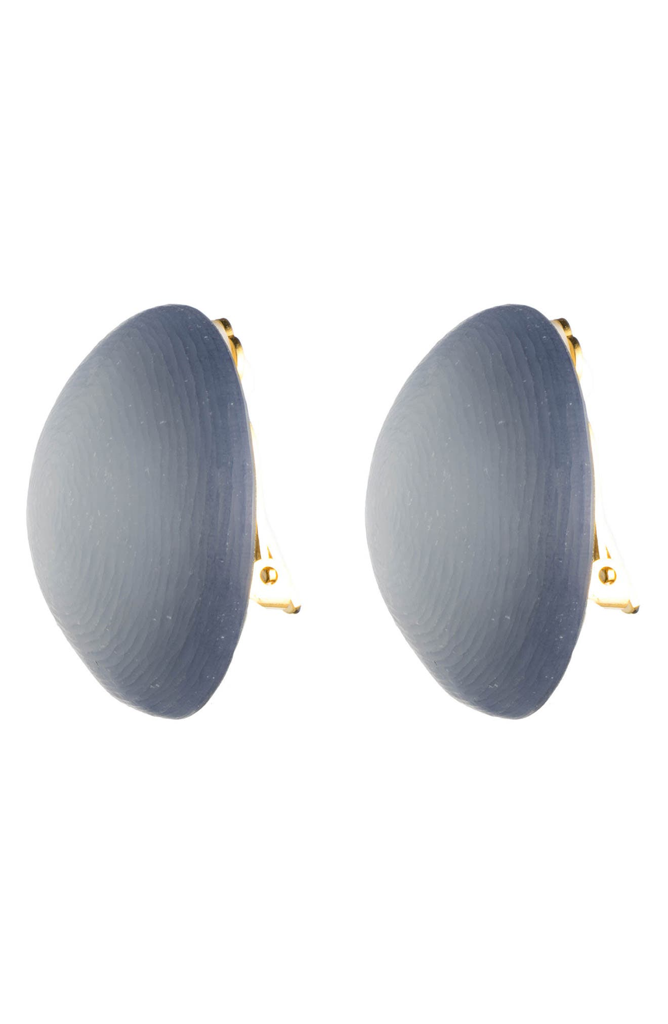 Lucite<sup>®</sup> Medium Dome Clip Earrings,                             Alternate thumbnail 2, color,                             STEEL BLUE