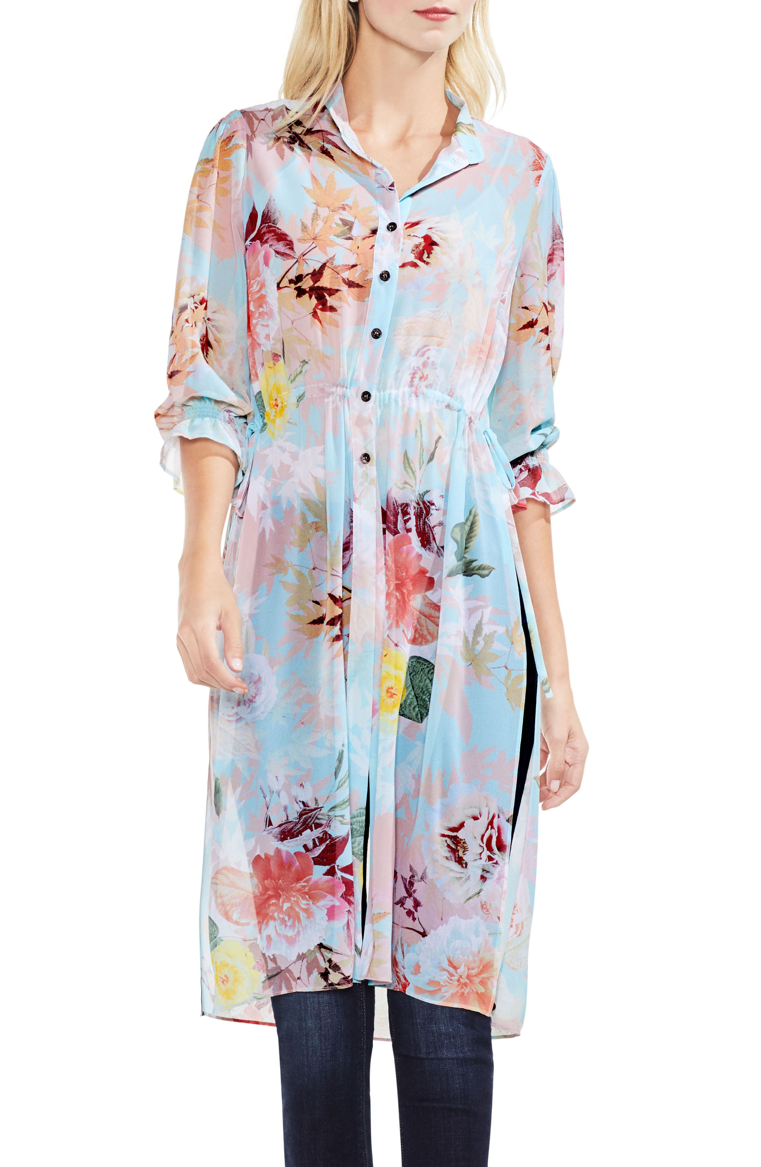 Faded Blooms Side Tie Tunic,                             Main thumbnail 1, color,                             487