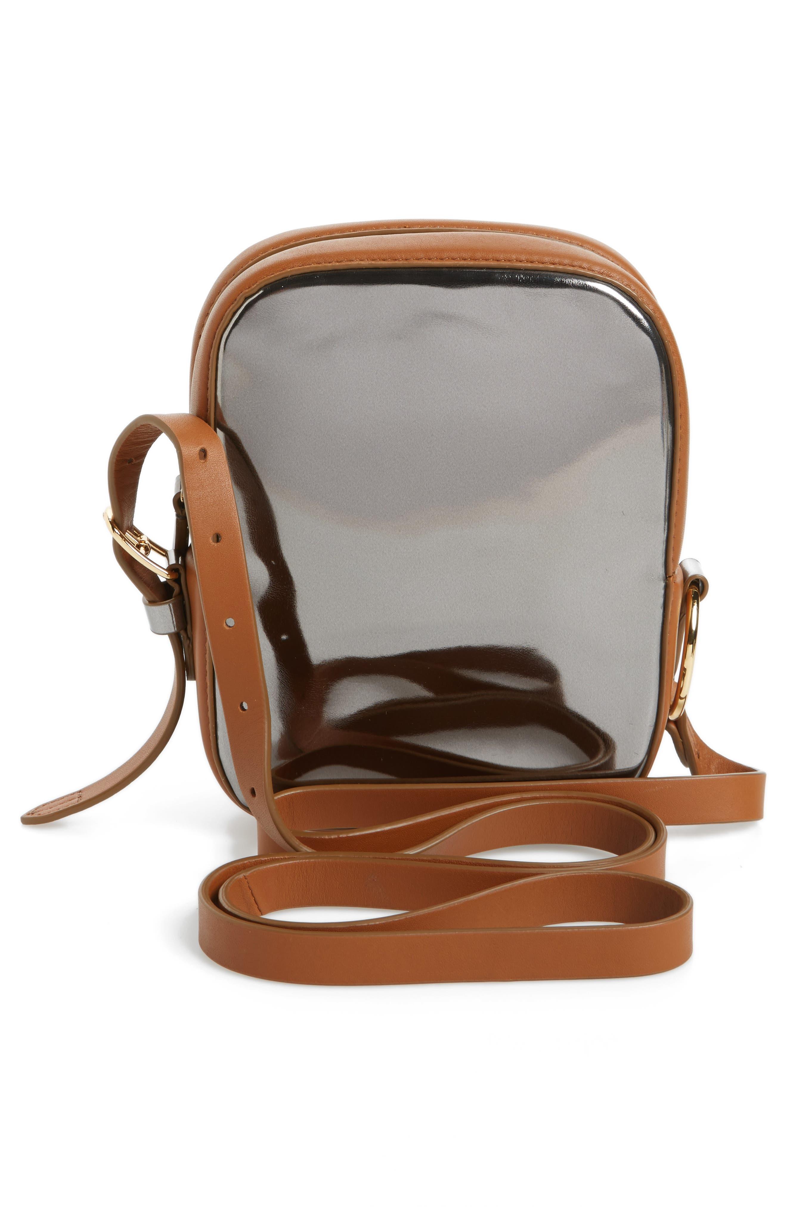Specchio Leather Camera Bag,                             Alternate thumbnail 3, color,                             040