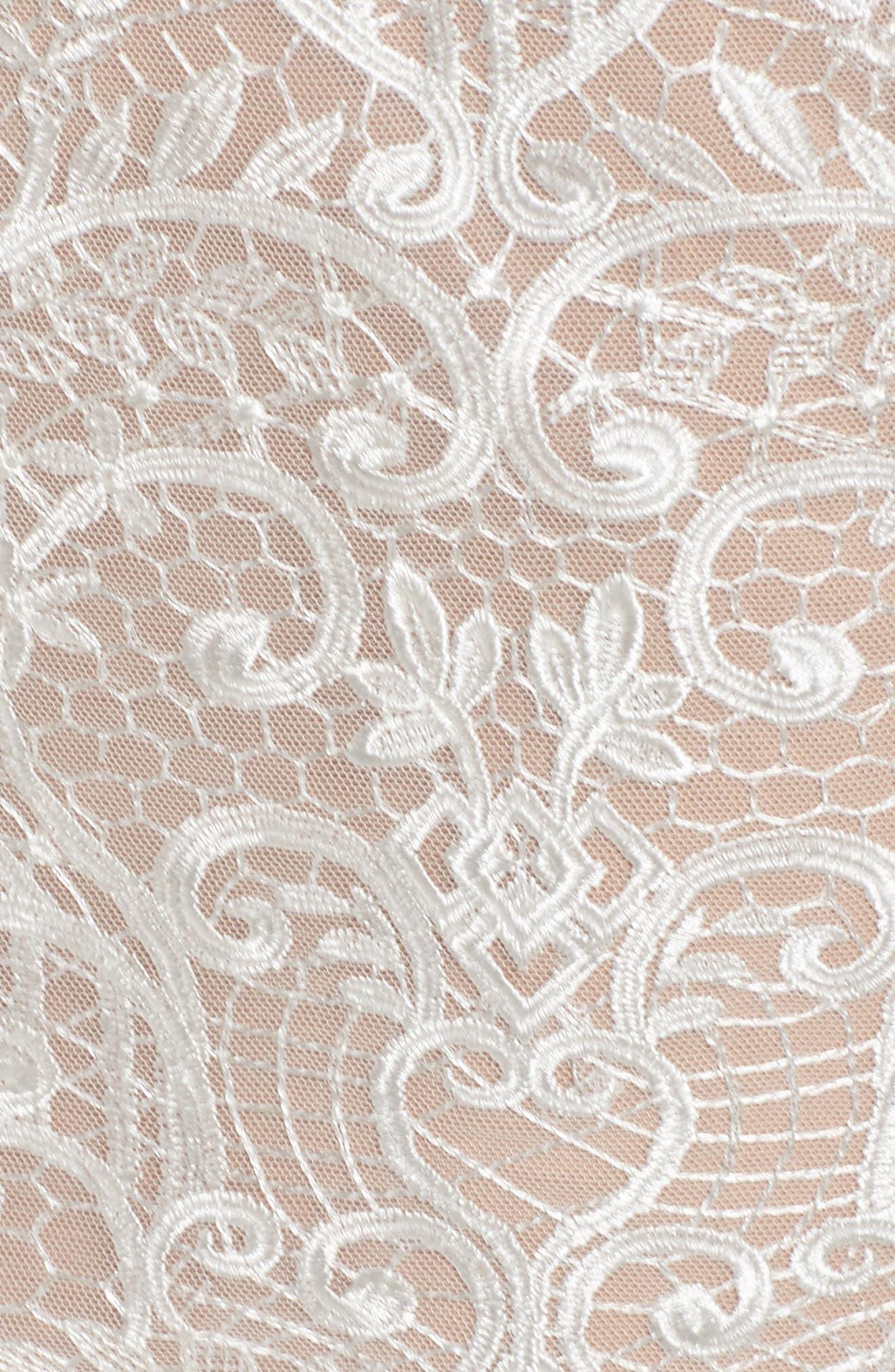 Venice Derby Lace Pencil Dress,                             Alternate thumbnail 5, color,                             100
