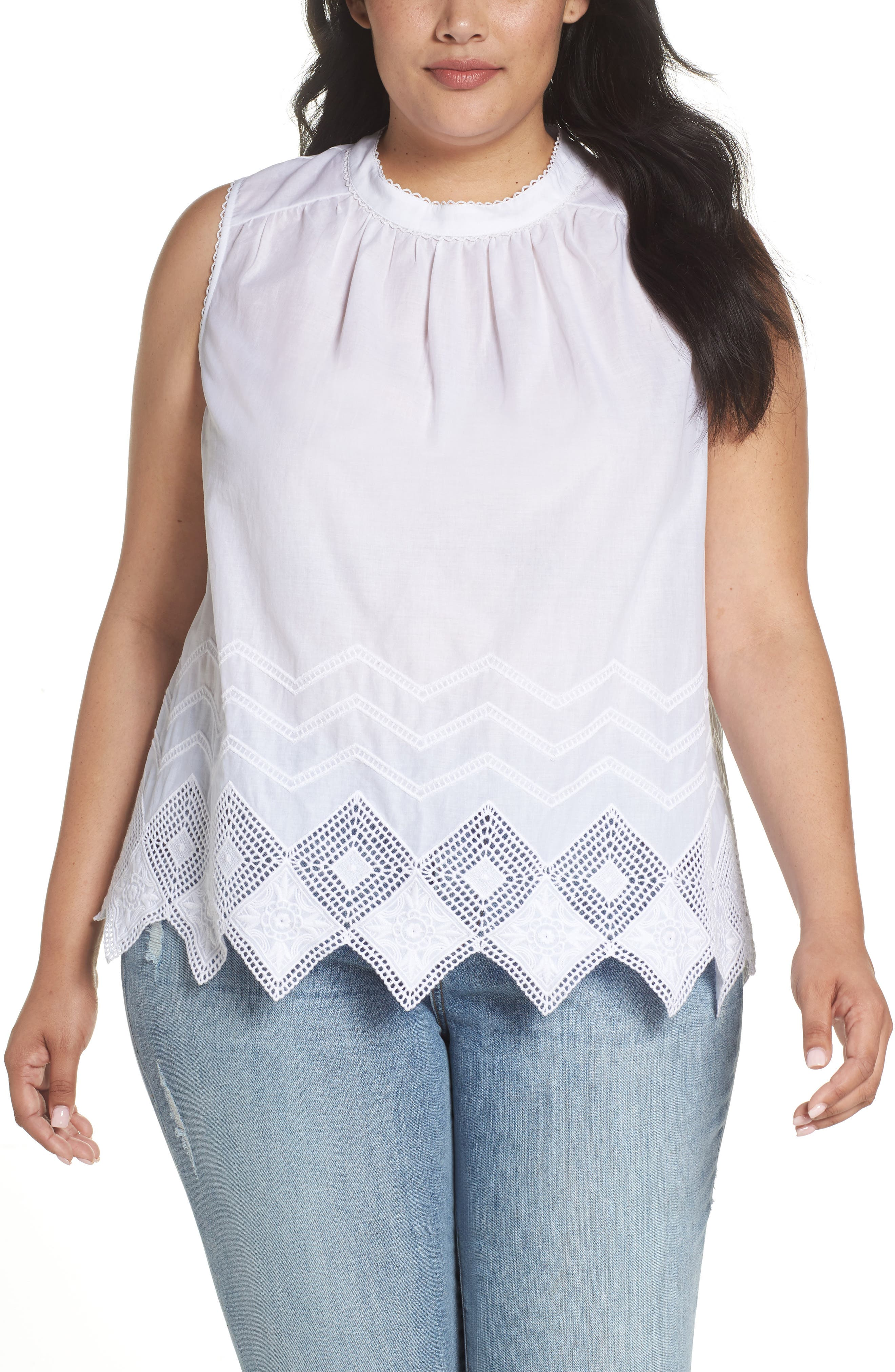 Embroidered Hem Top,                             Main thumbnail 1, color,                             100