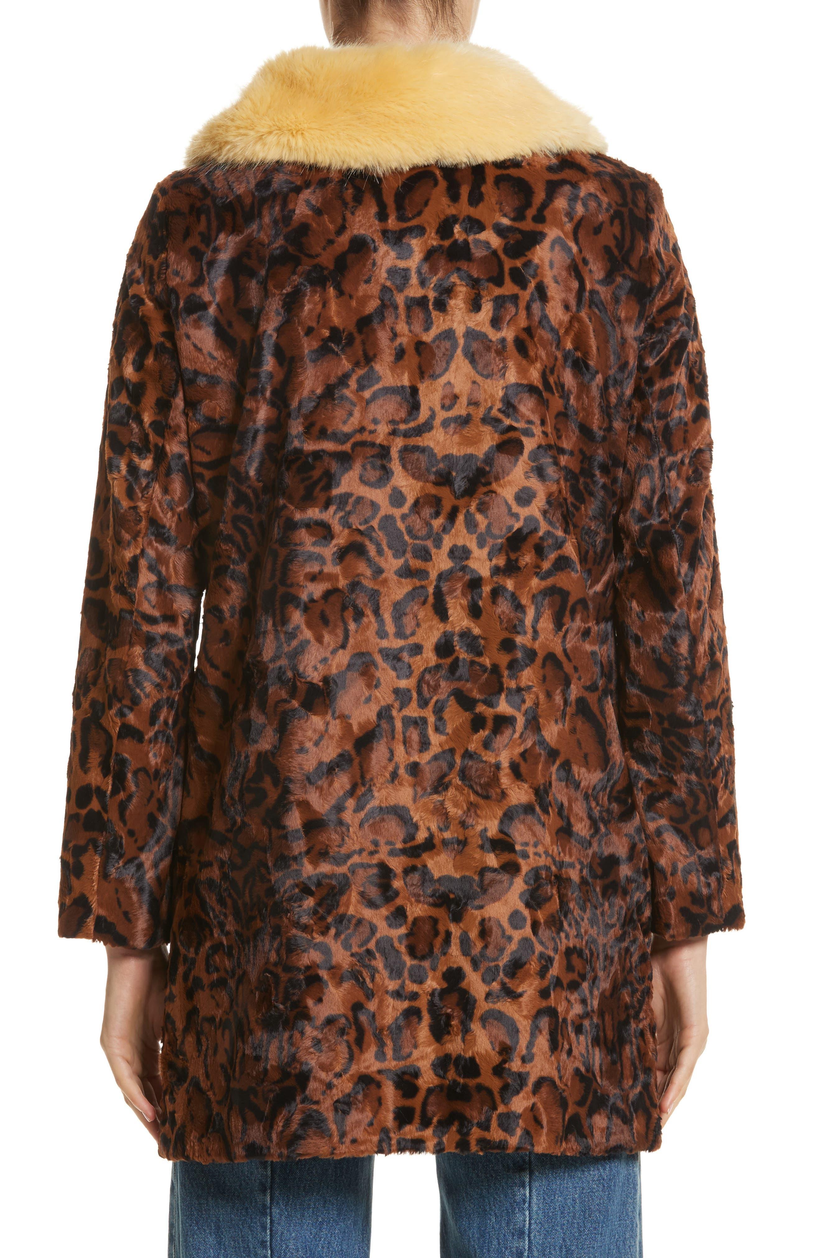 Papa Puss Leopard Print Faux Fur Coat,                             Alternate thumbnail 2, color,                             200