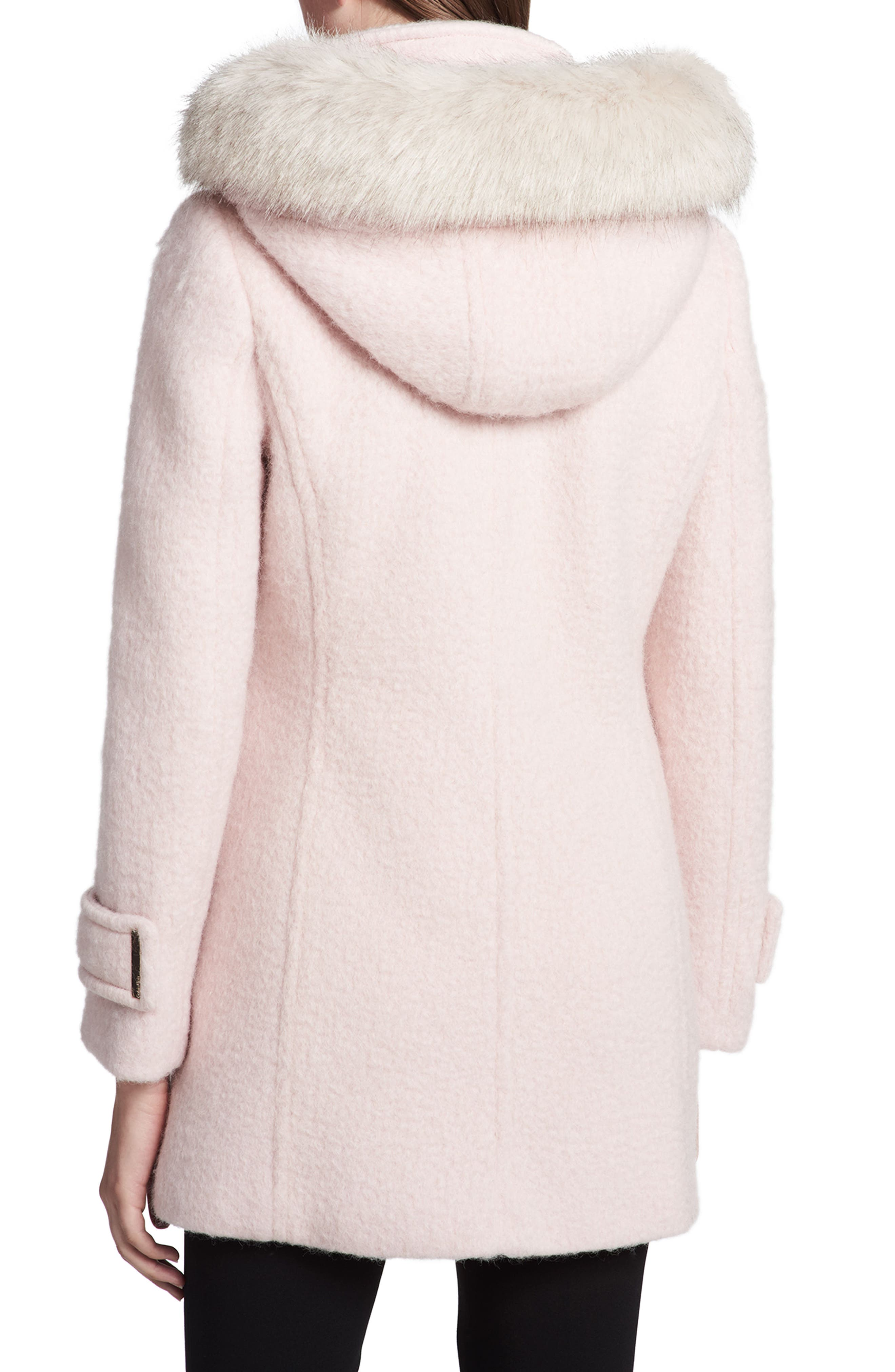 Hooded Wool Blend Jacket with Faux Fur Trim,                             Alternate thumbnail 6, color,