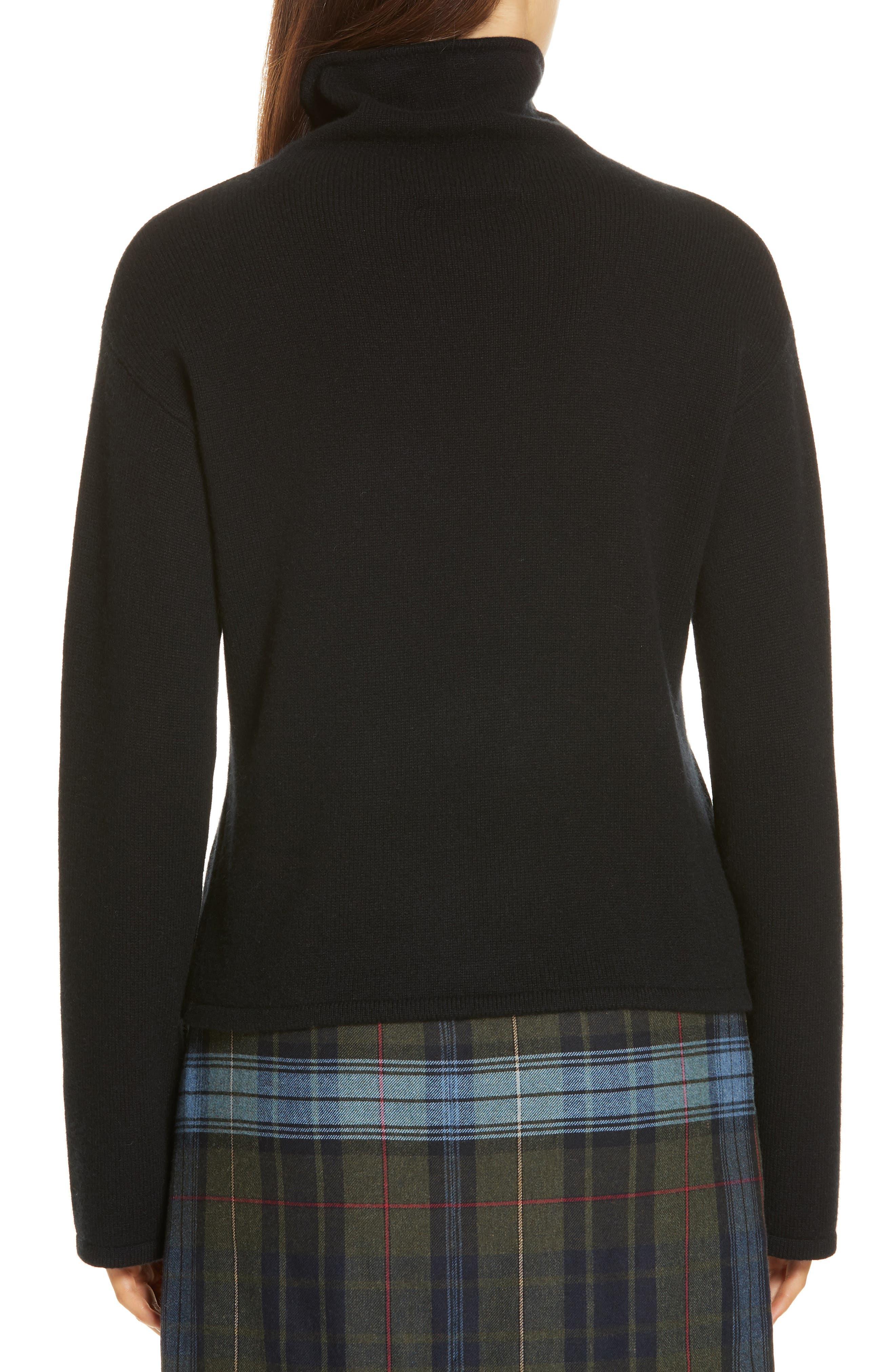 Funnel Neck Cashmere Sweater,                             Alternate thumbnail 2, color,                             BLACK