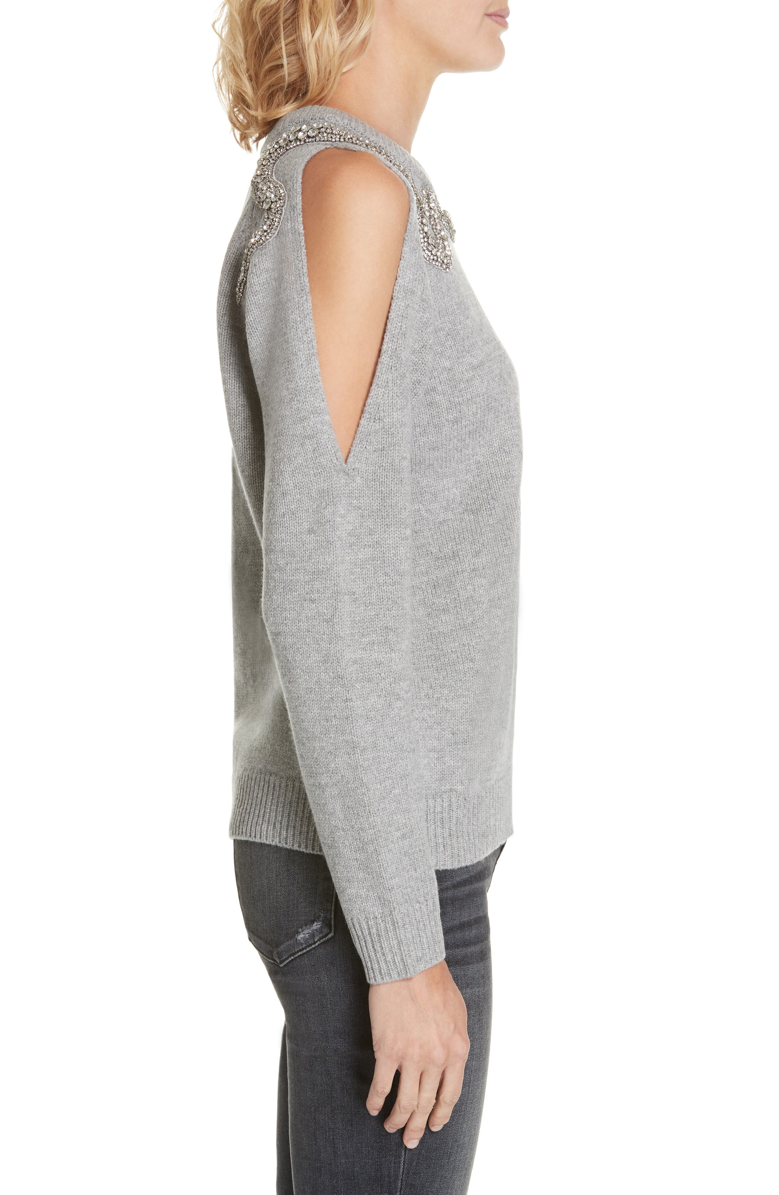 Ossi Embellished Wool Sweater,                             Alternate thumbnail 3, color,                             GRIS