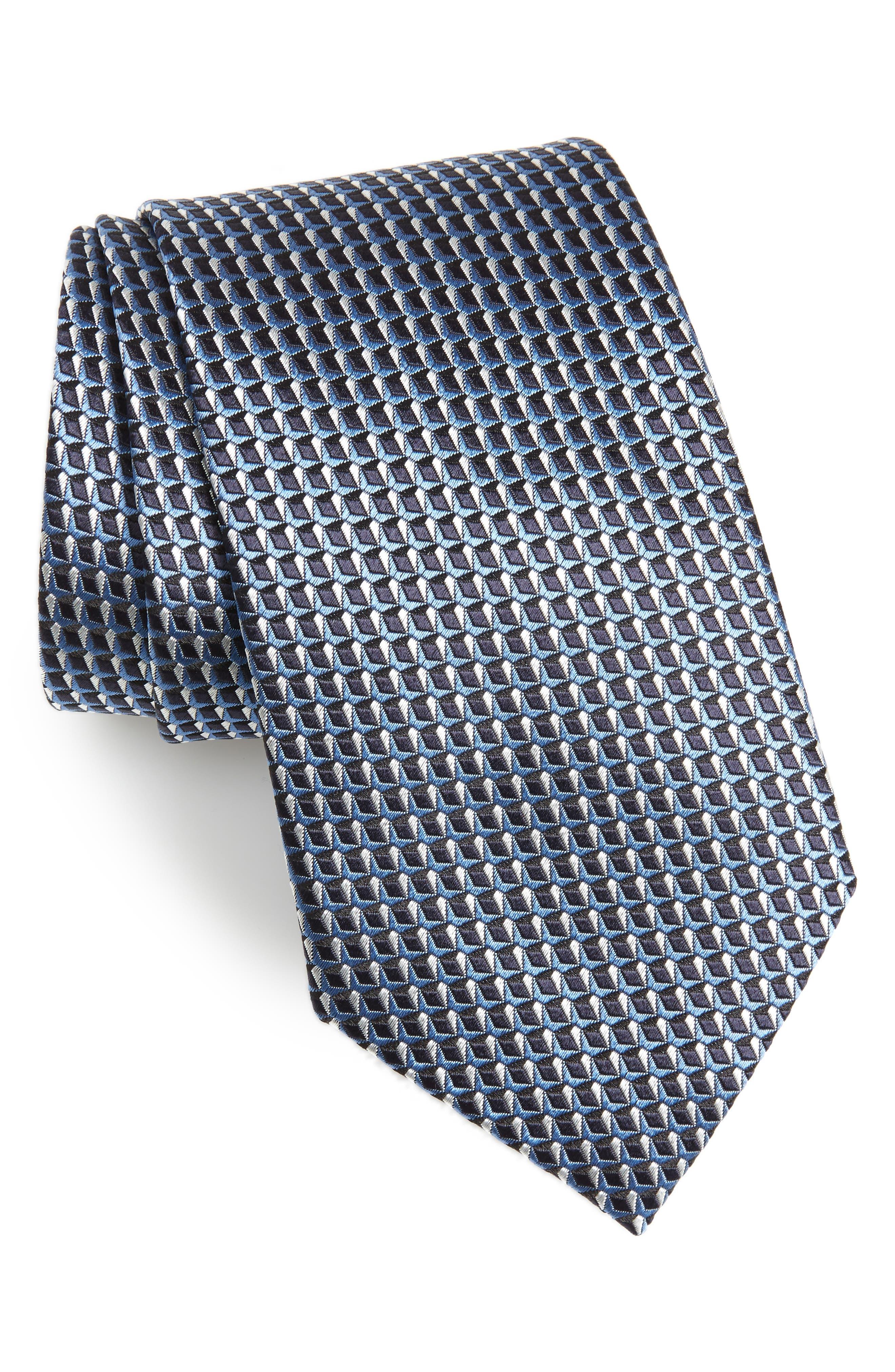 Geometric Silk Tie,                         Main,                         color, LIGHT BLUE