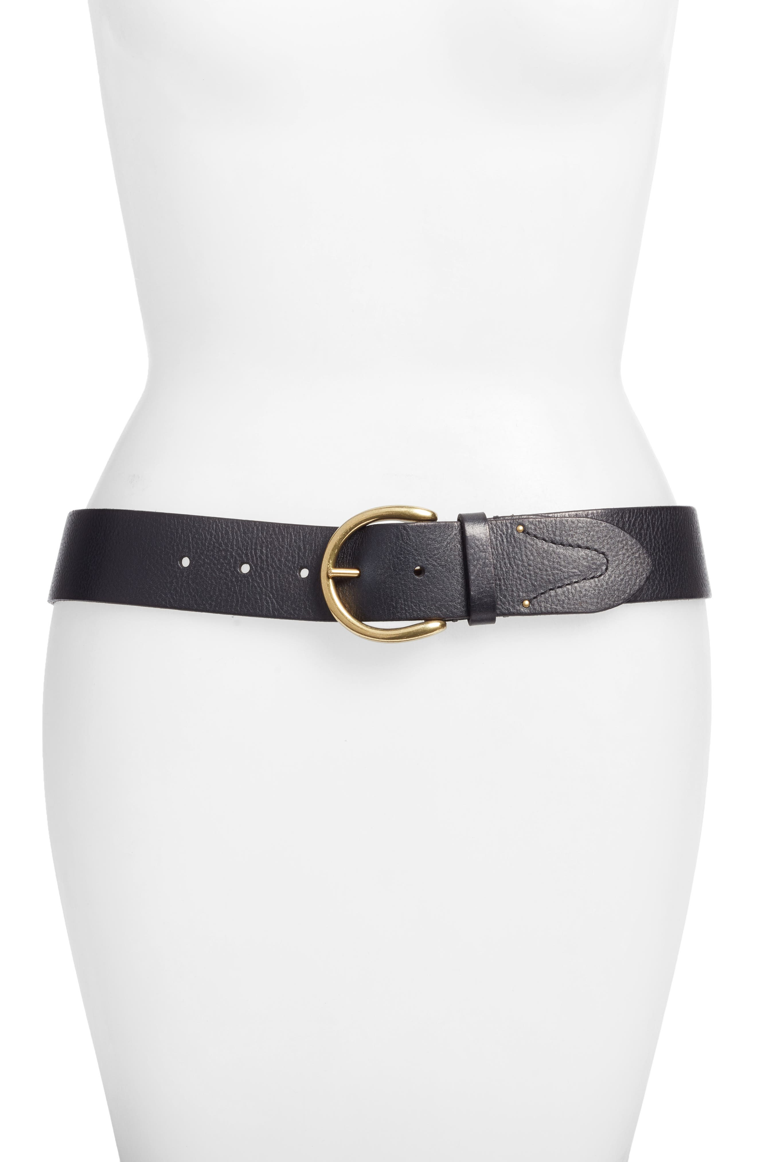 Campus Leather Belt,                         Main,                         color, BLACK