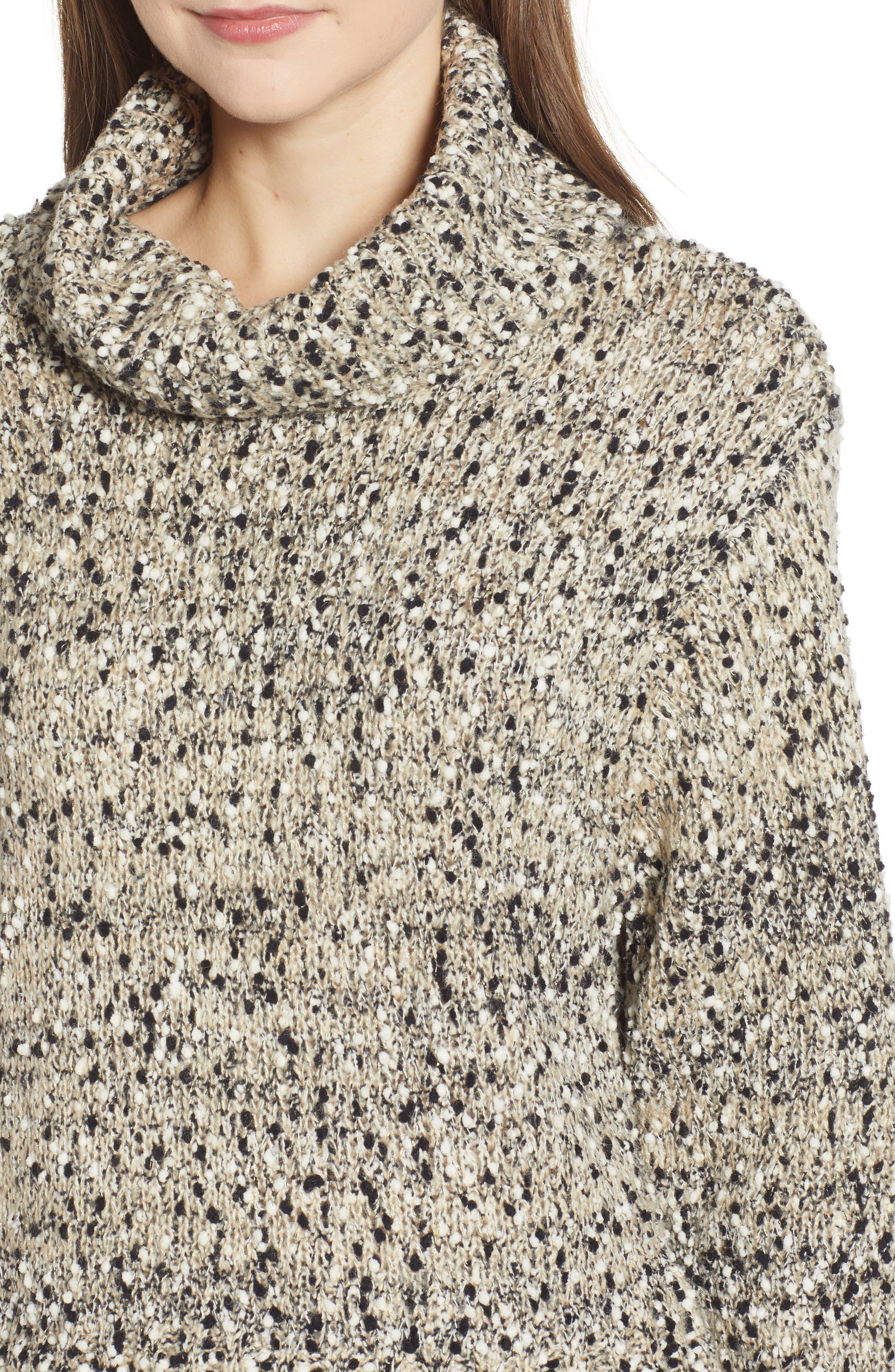 Metallic Slub Turtleneck Sweater,                             Alternate thumbnail 4, color,                             OATMEAL MULTI