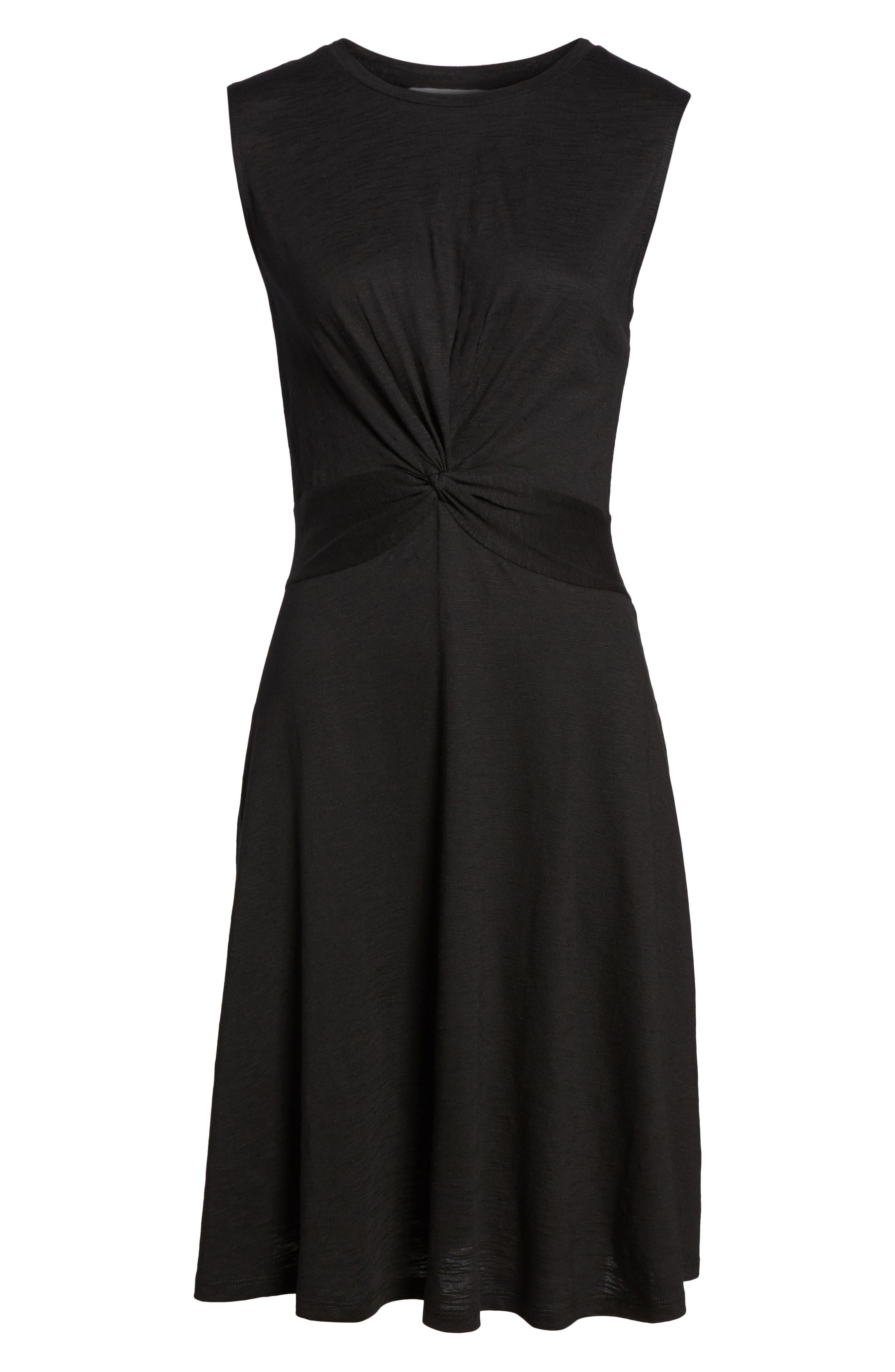 Twist Front Knit Dress,                             Alternate thumbnail 7, color,                             001