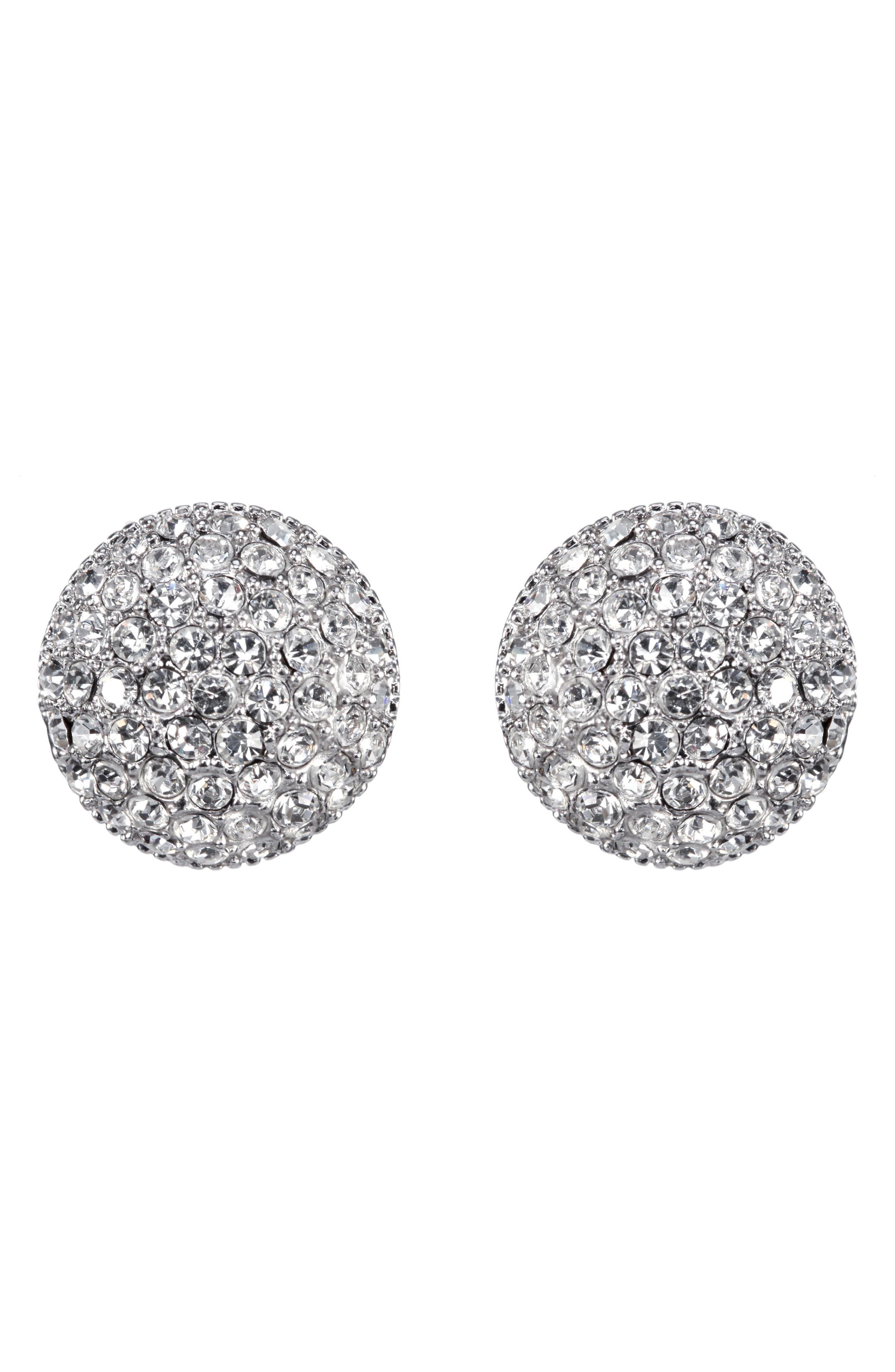 Small Pavé Swarovski Crystal Button Earrings, Main, color, WHITE/ SILVER
